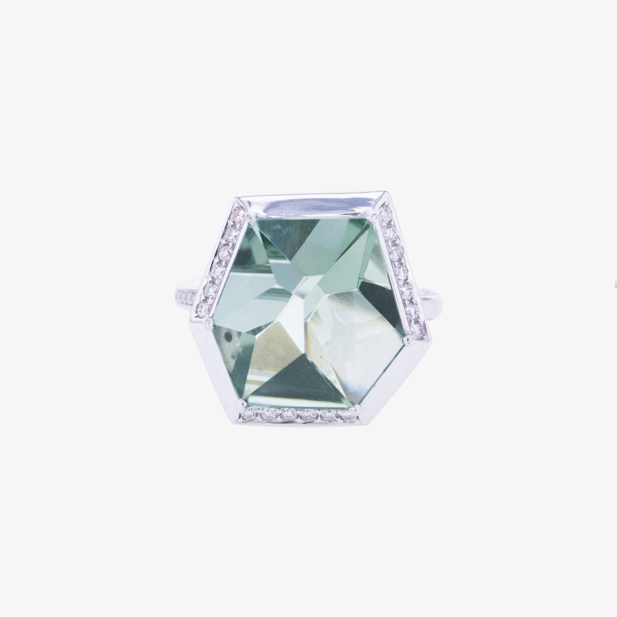 18K W/G Green Amethyst Diamond Ring