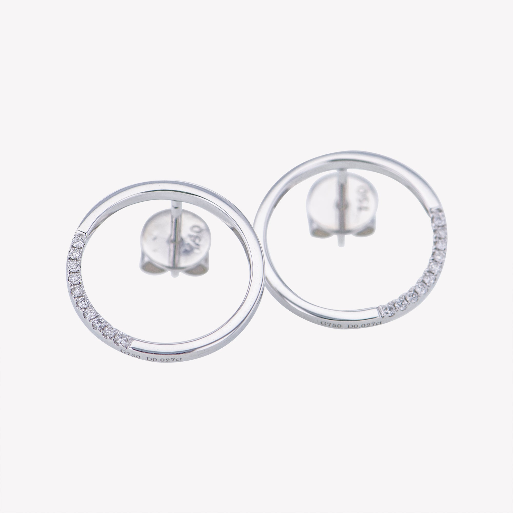 Circle Earrings in White Gold
