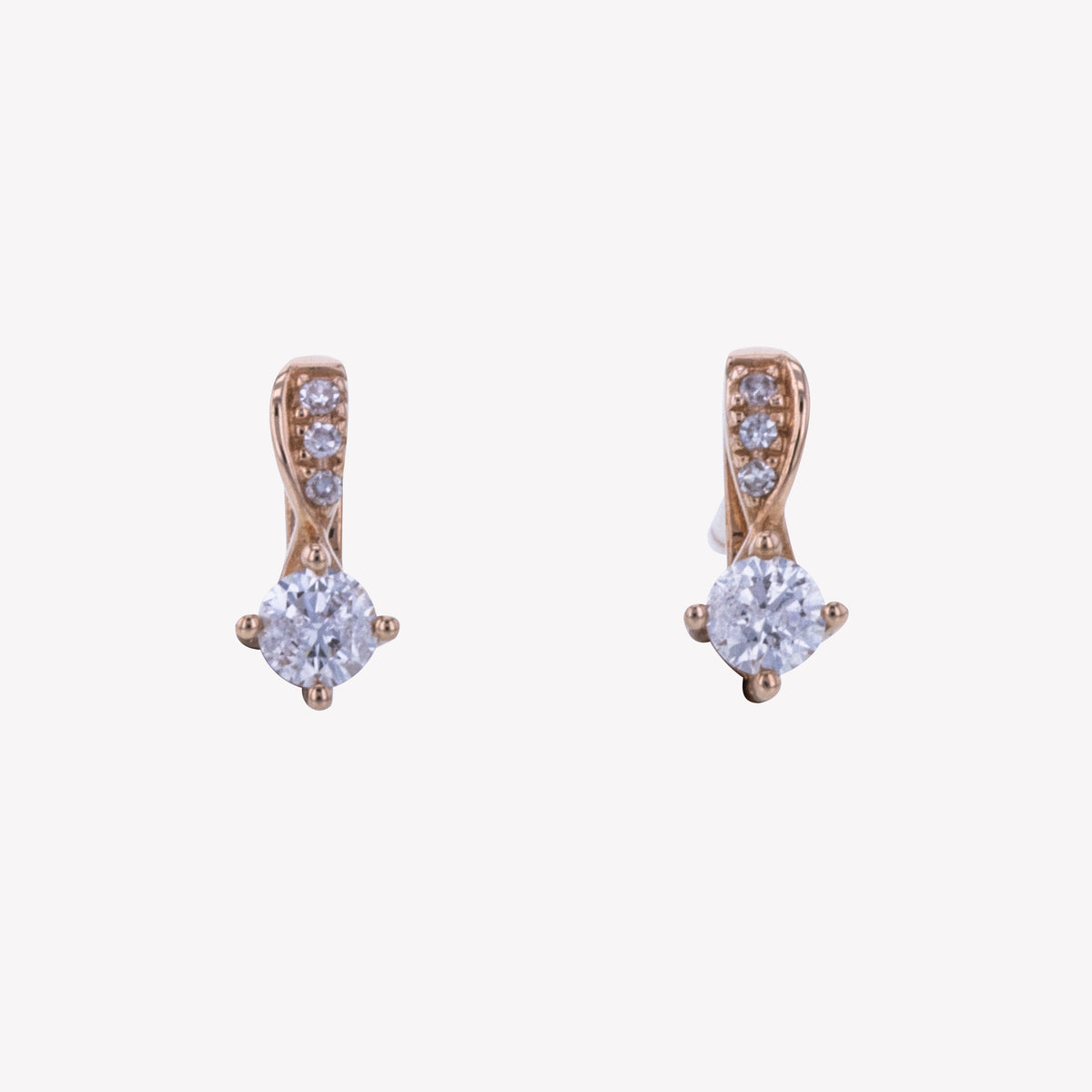 18K R/G Diamond Earring