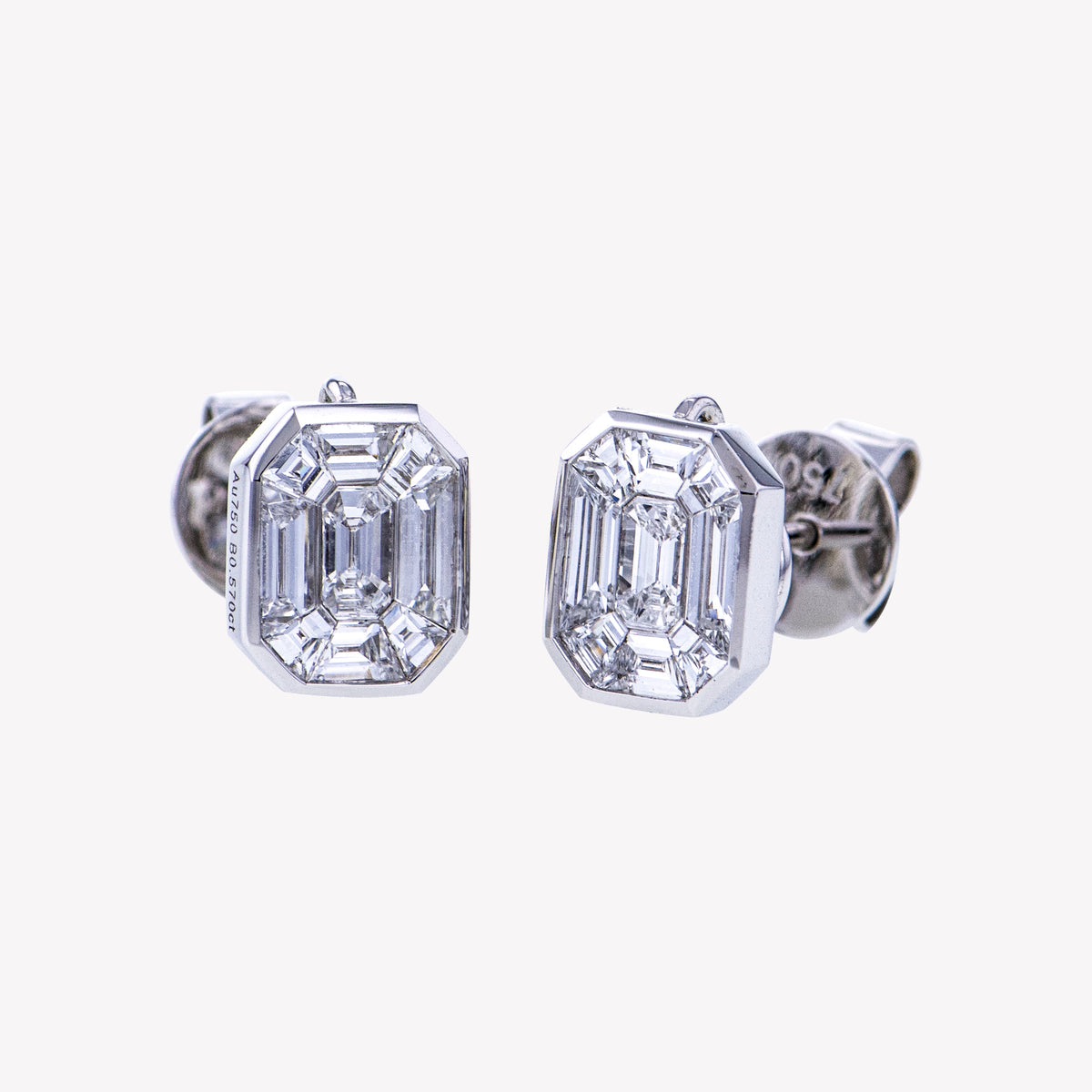 White Gold Emerald Studs Diamond Earrings