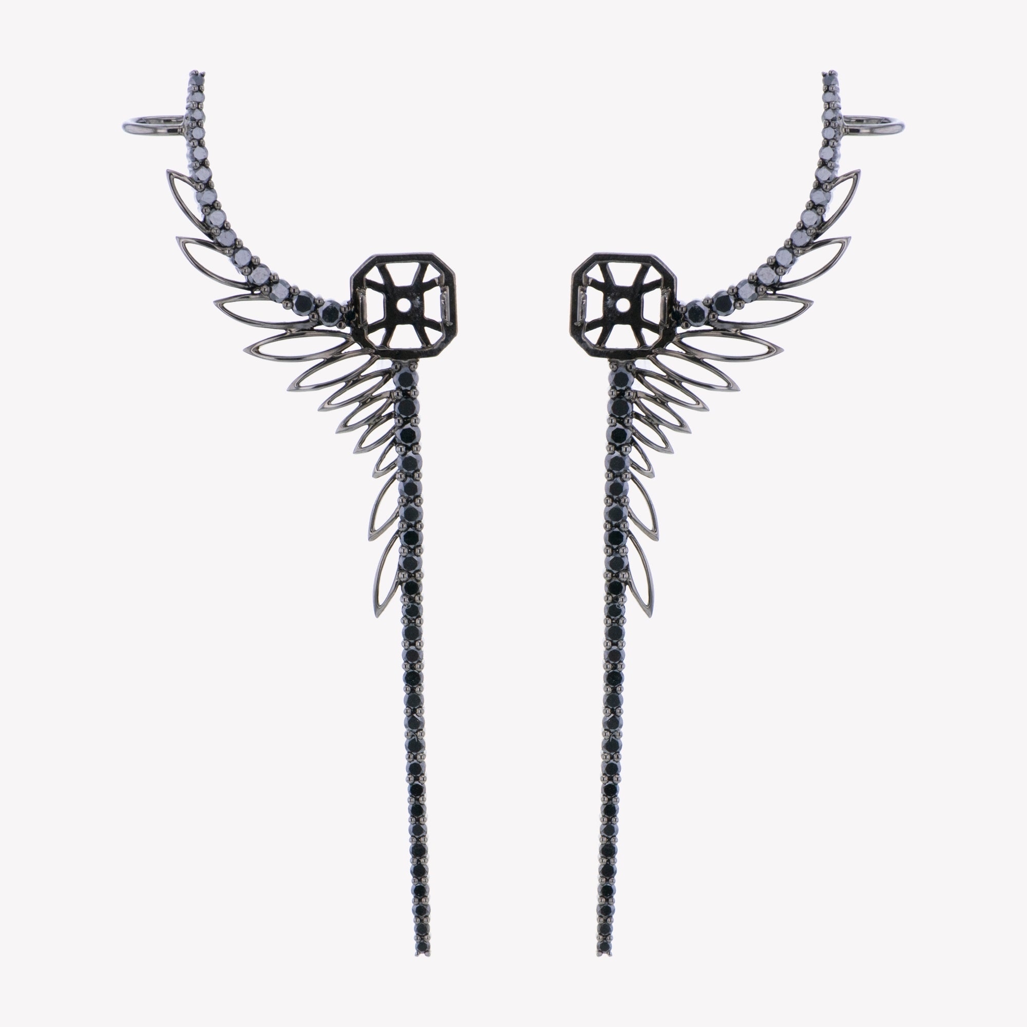 Wing Inspired Accessories For Black Gold Asscher Studs