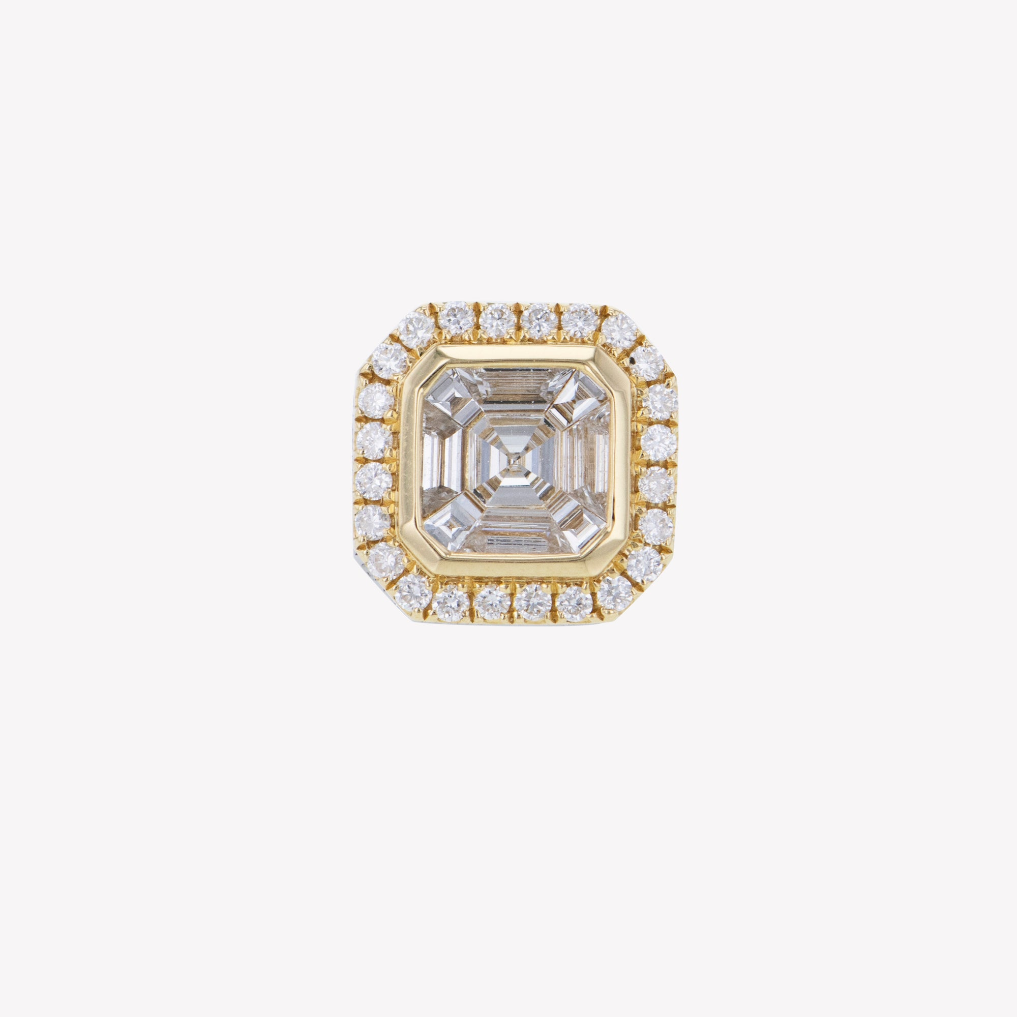 Asscher Cluster Add-on For Yellow Gold Hoops