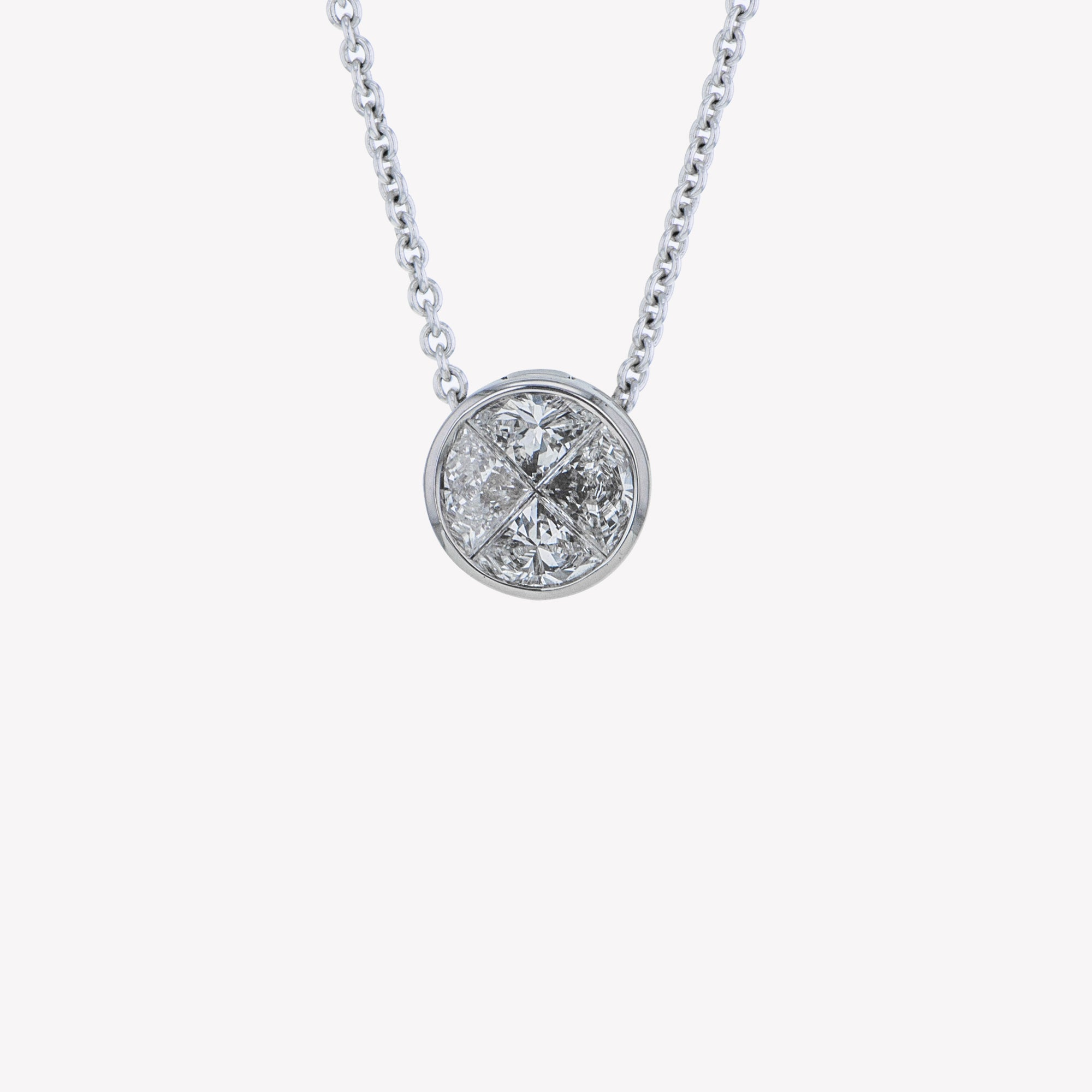 Detachable White Gold Round Head with Chain