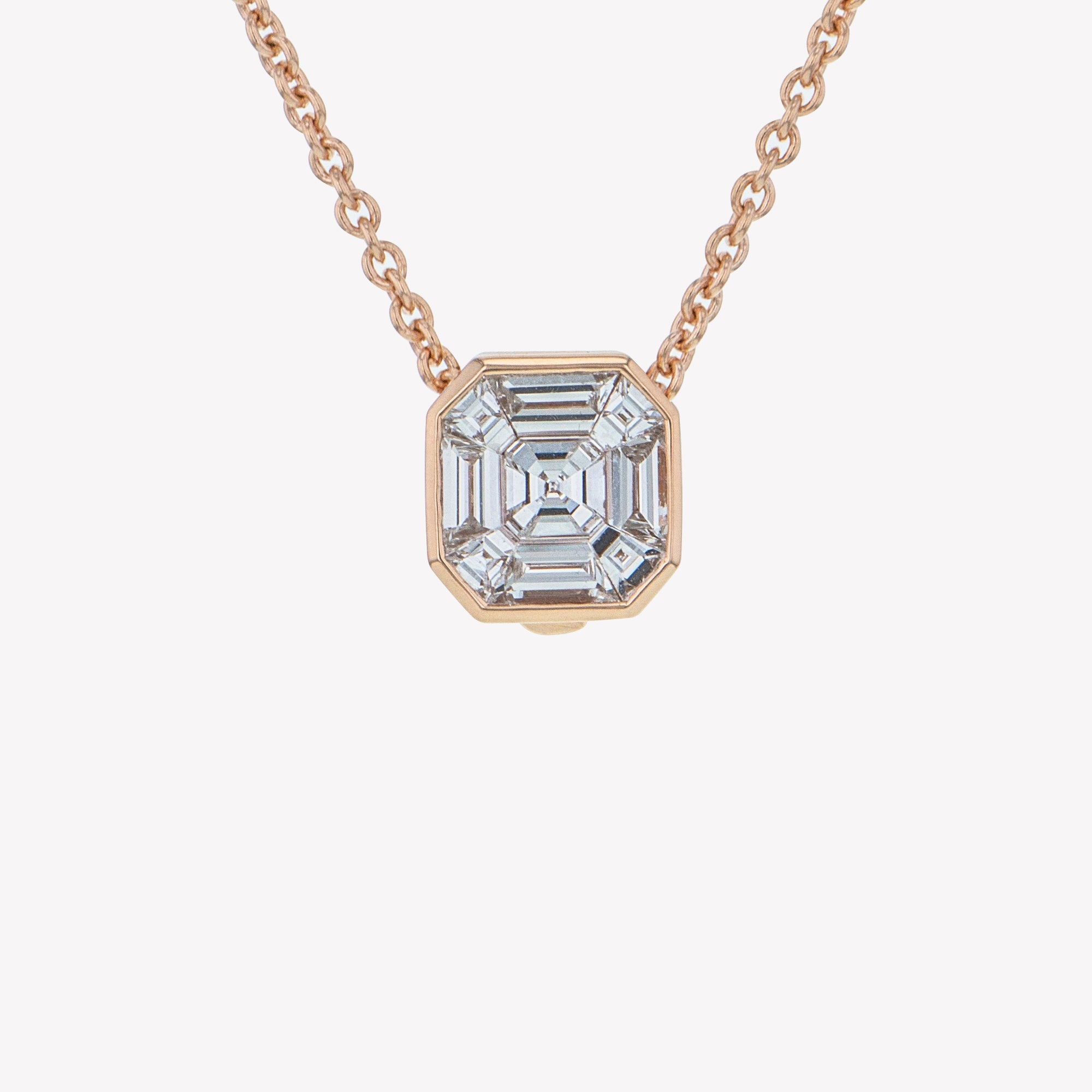 Detachable Rose Gold Asscher Head with Chain