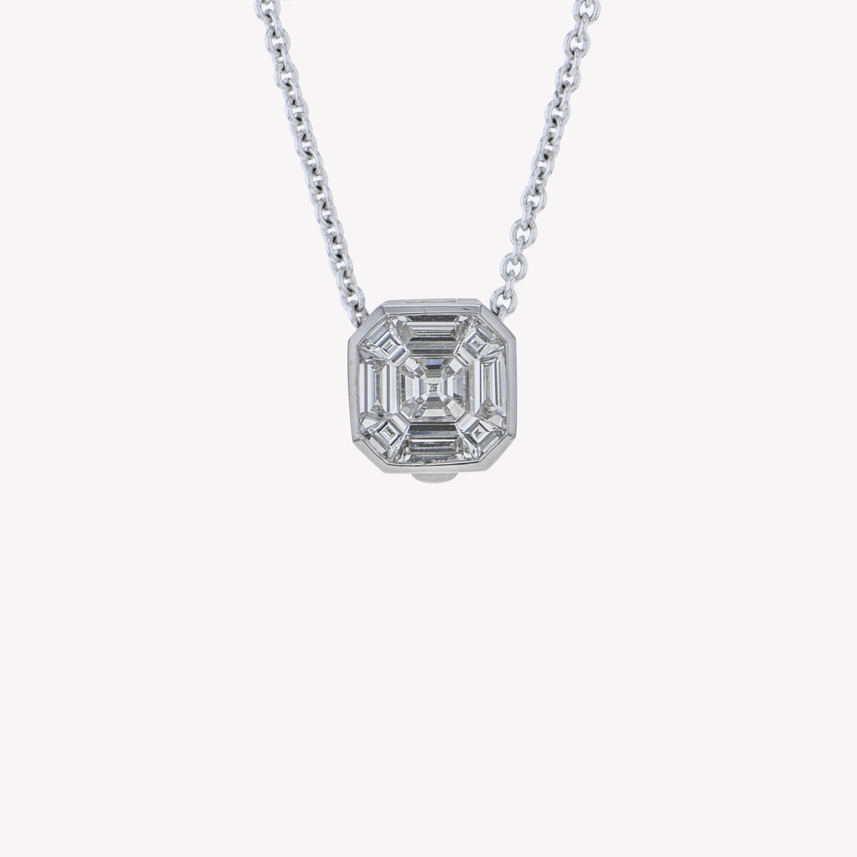 Detachable White Gold Asscher Head with Chain