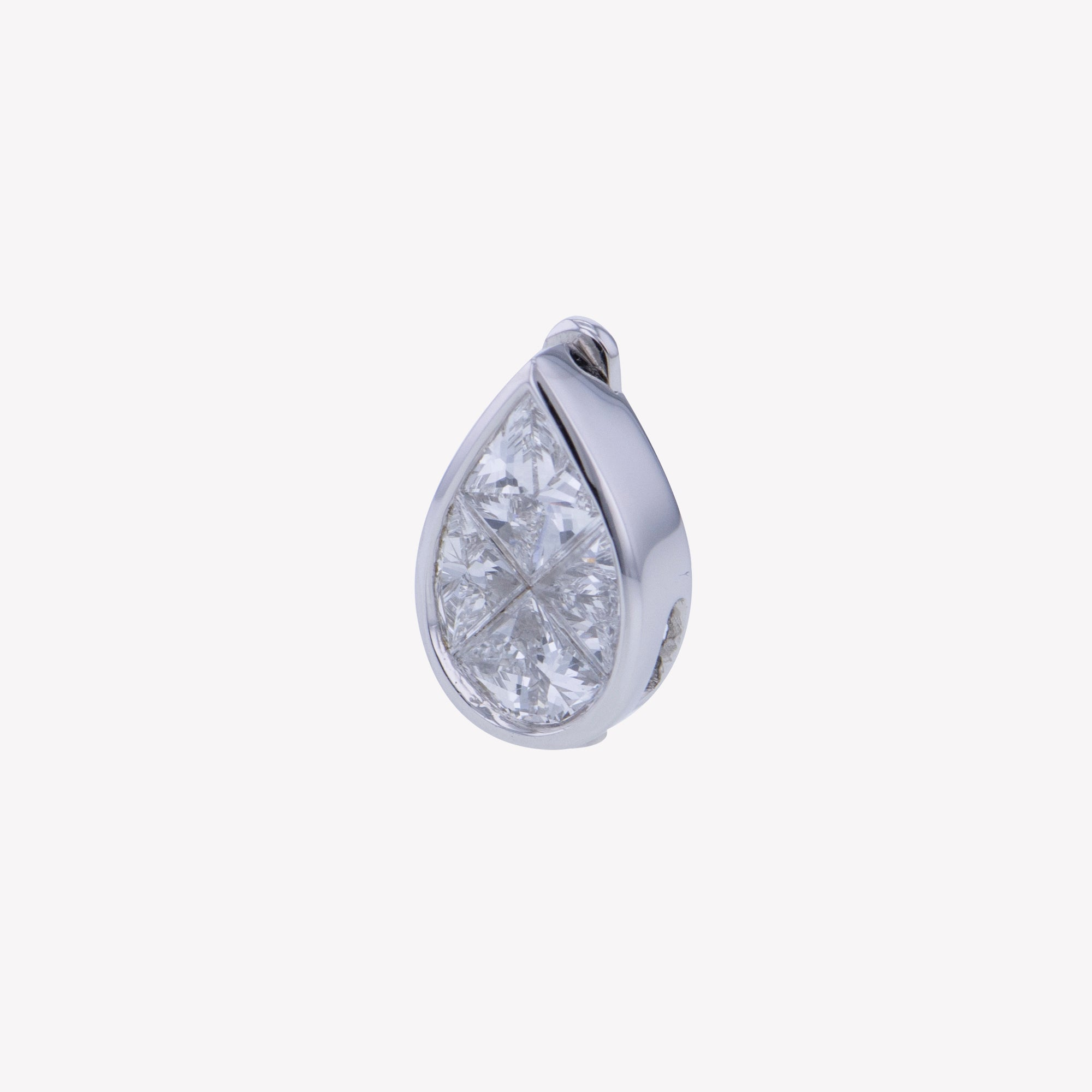 Detachable White Gold Pear Head with Octa Diamond Band