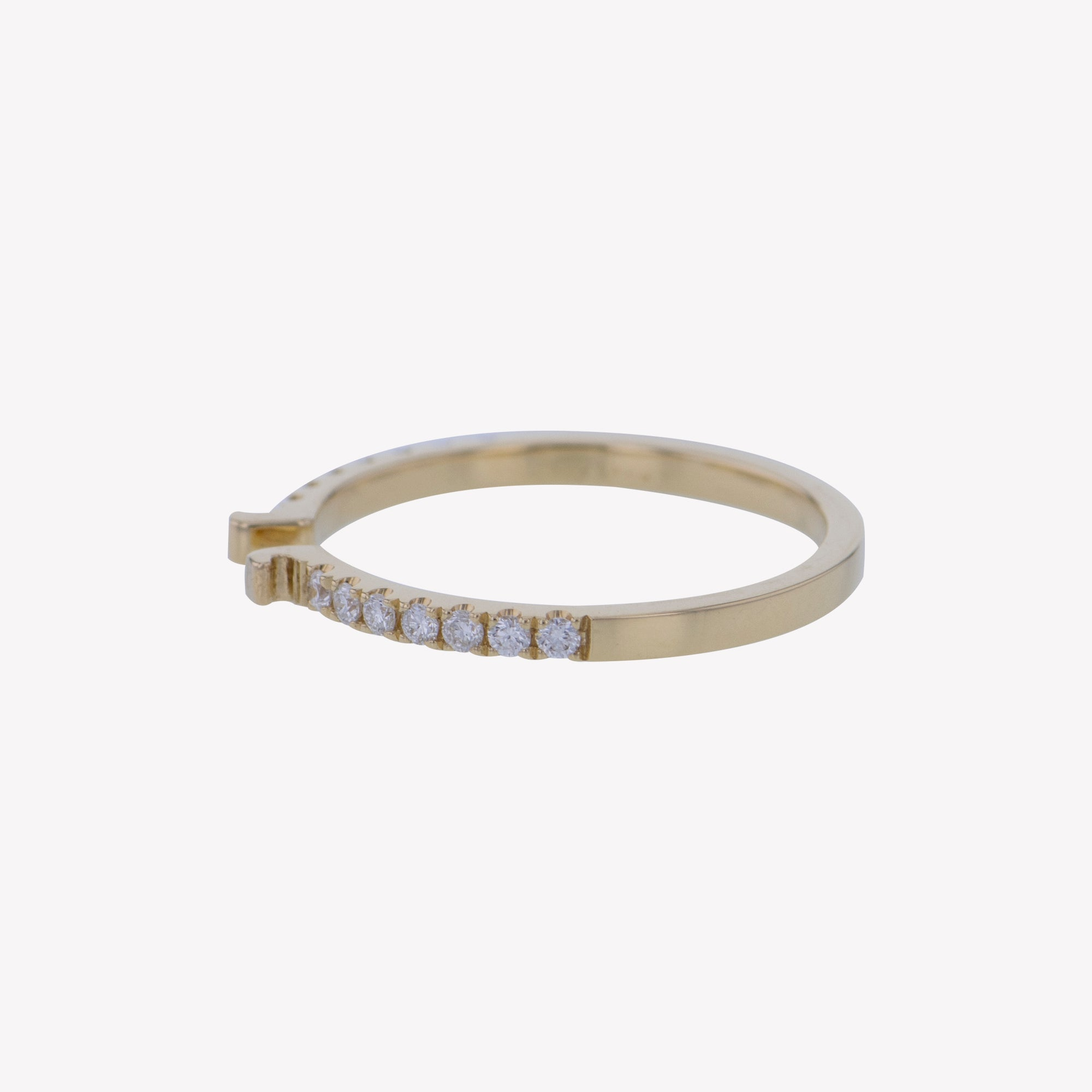 Yellow Gold Round Diamond Clip Band