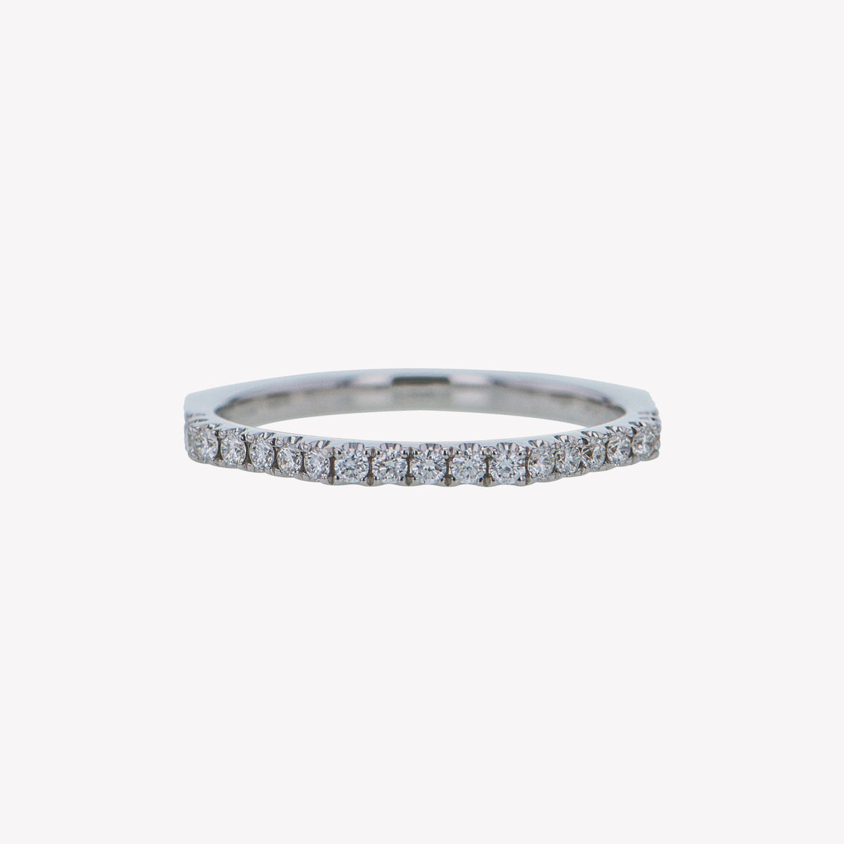 White Gold Octa Diamond  Stack Band