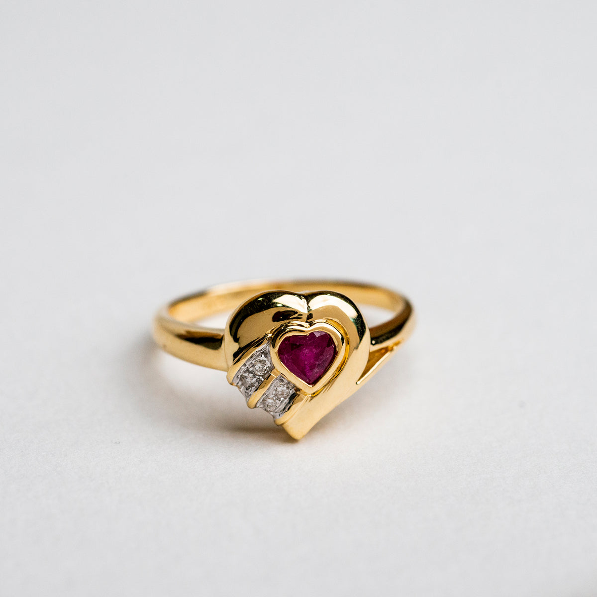 Ruby Vintage Heart Ring
