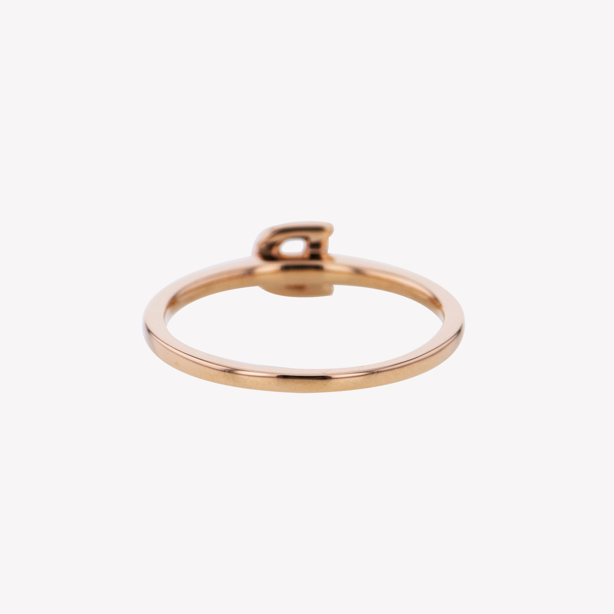 Letter D Diamond Ring in Rose Gold