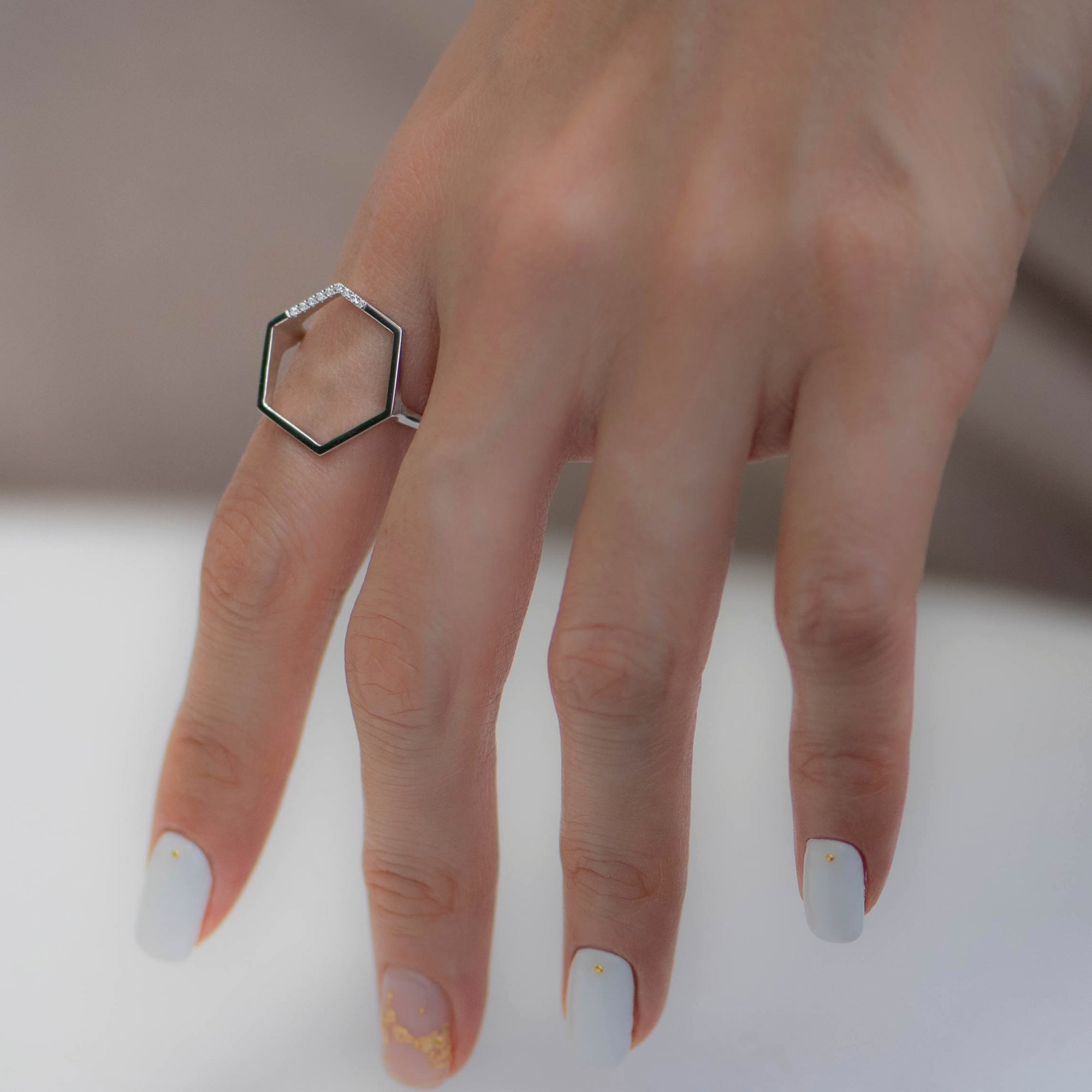 Hexagon Ring in White Gold