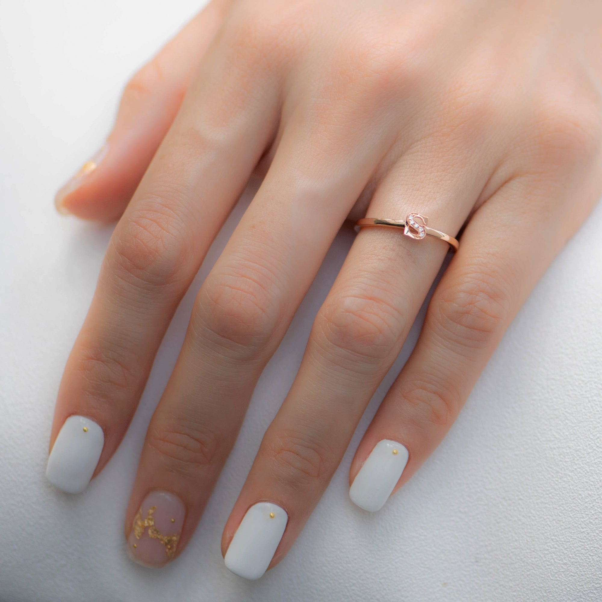 Letter S Diamond Ring in Rose Gold