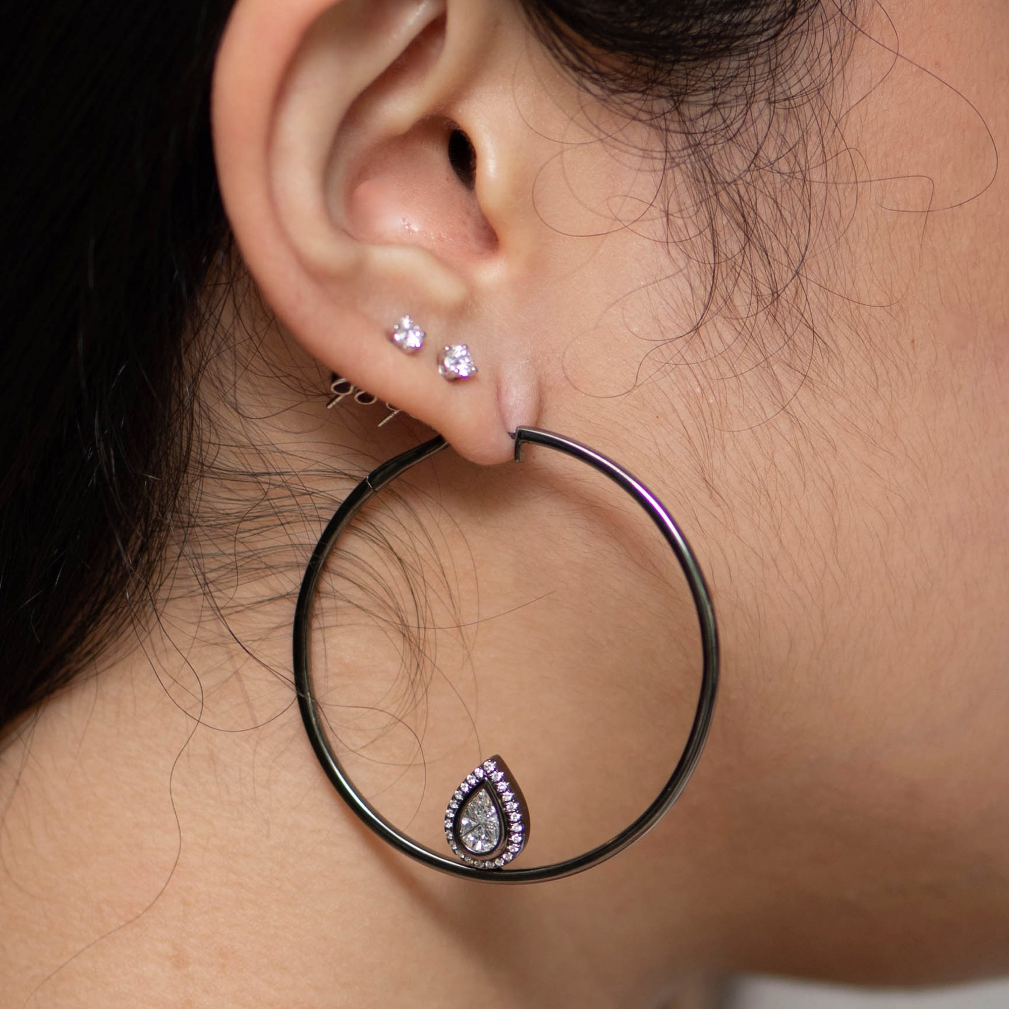 Black Gold Hoops with Pear Cluster Add-on