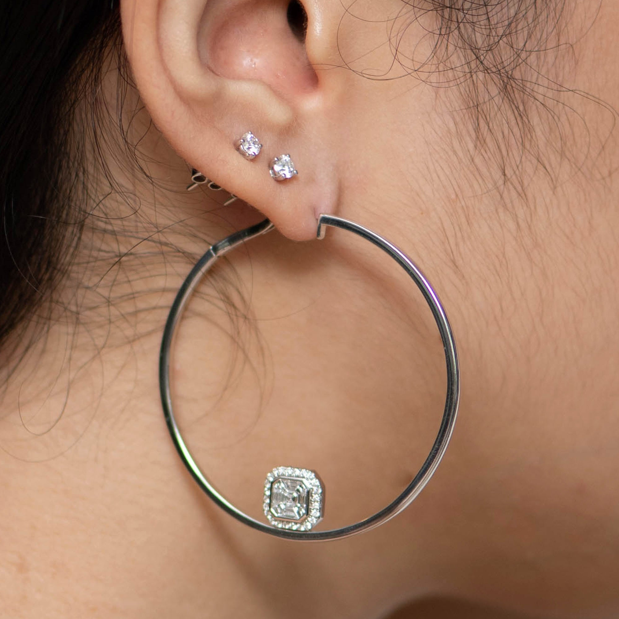 White Gold Hoops with Asscher Cluster Add-on
