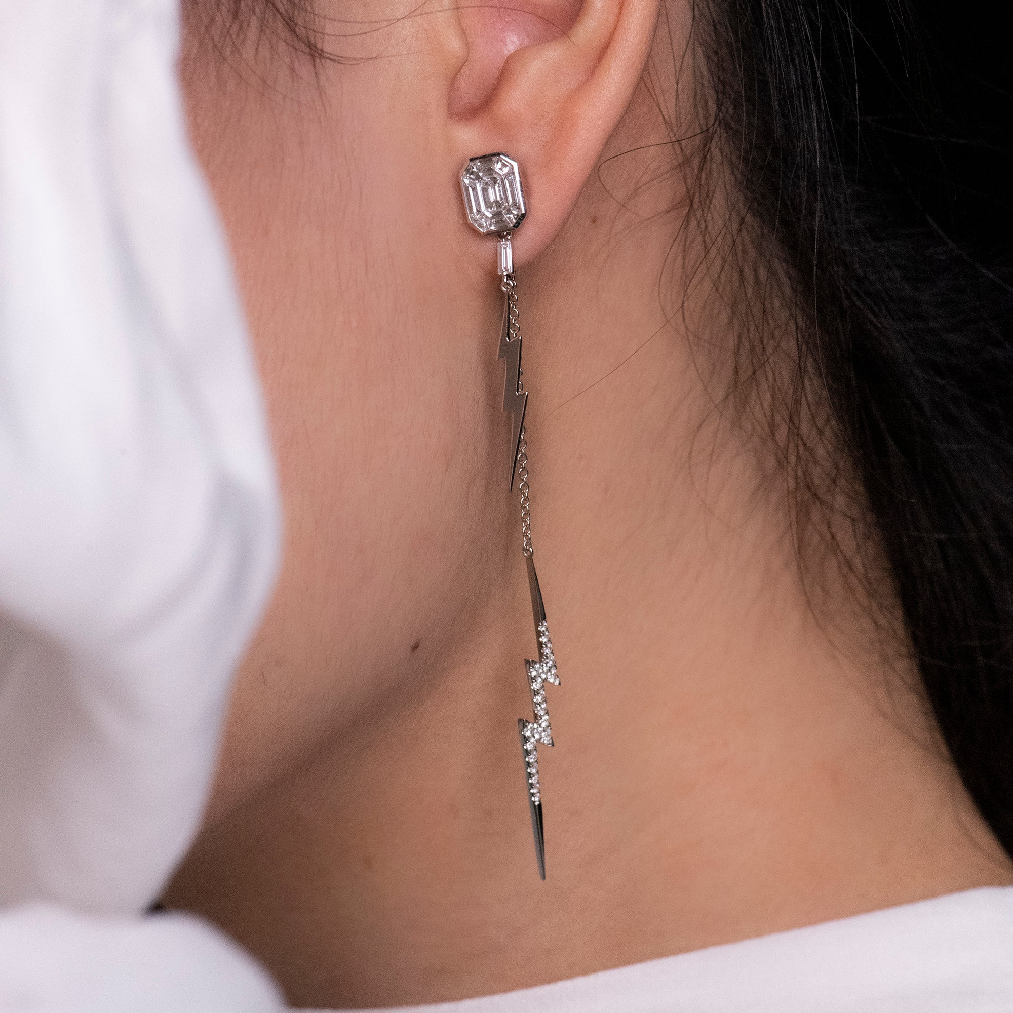 White Gold Emerald Studs with Bolt Accessories
