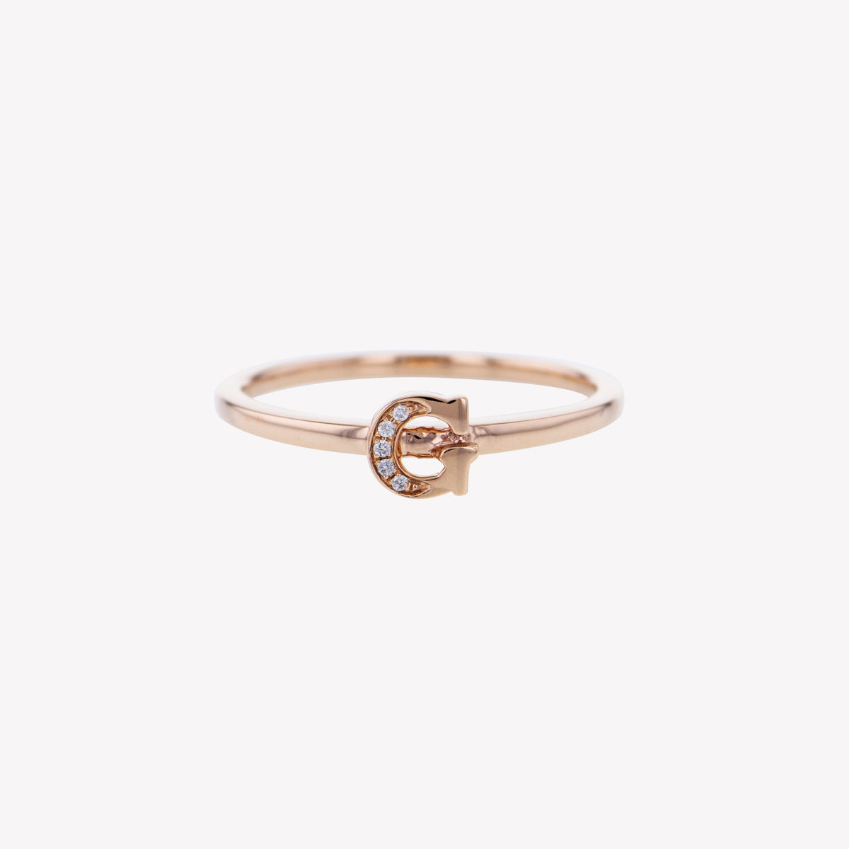 Letter G Diamond Ring in Rose Gold