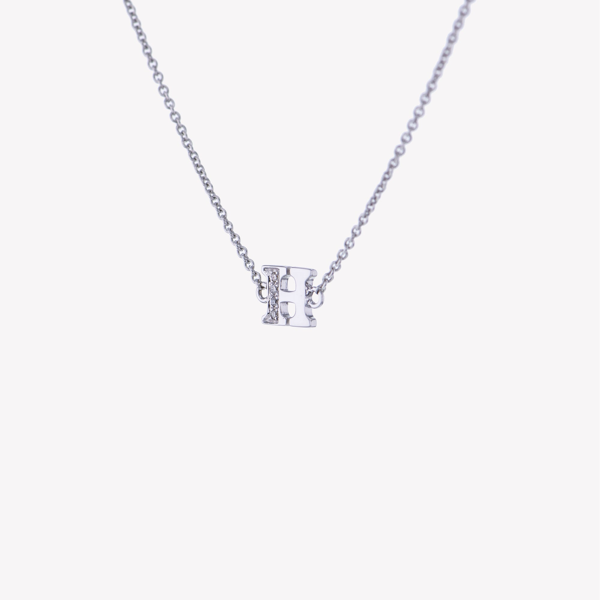 Letter H Diamond Pendant With Chain in White Gold