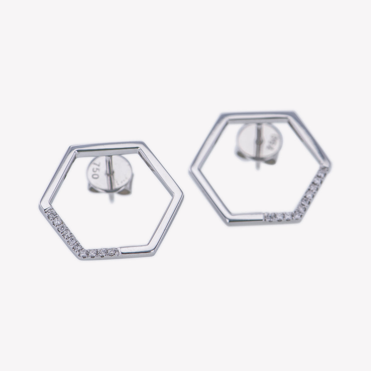 Hexagon Earrings in White Gold