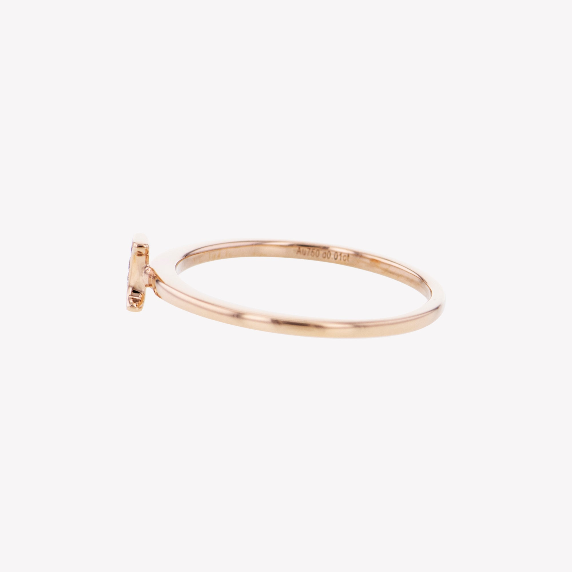 Letter I Diamond Ring in Rose Gold