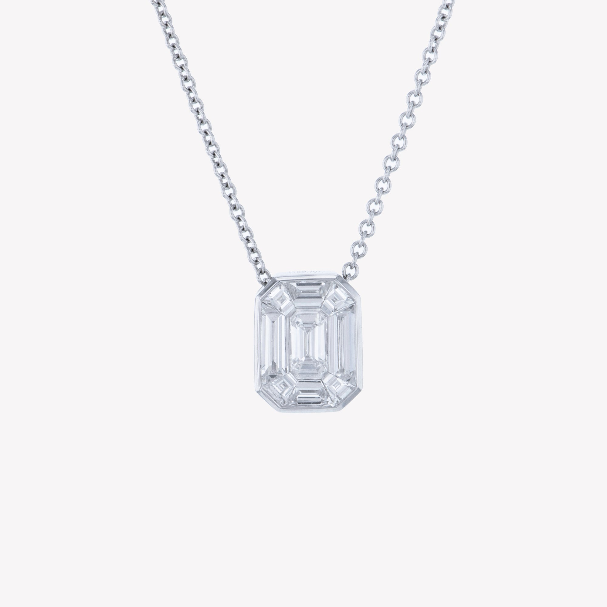 White Gold Emerald Pendant with Baguette Drop II