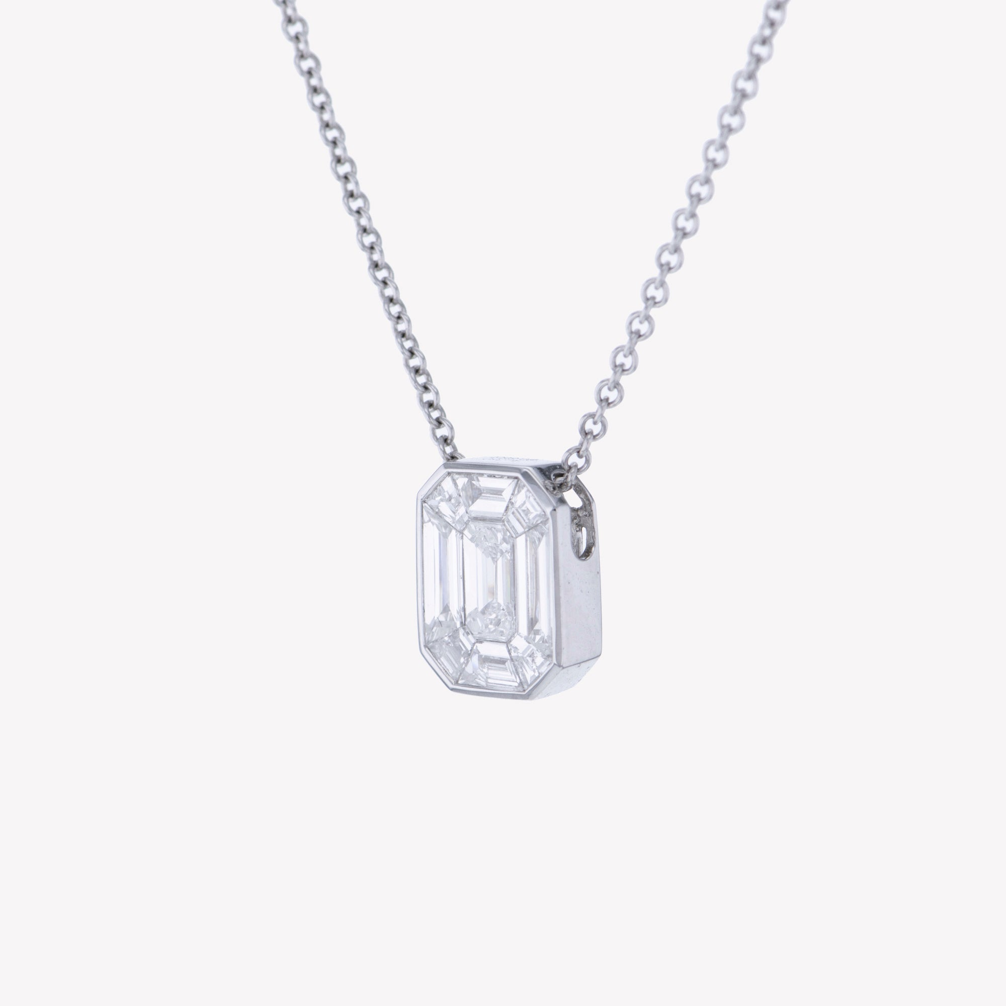 White Gold Emerald Pendant with Baguette Drop I