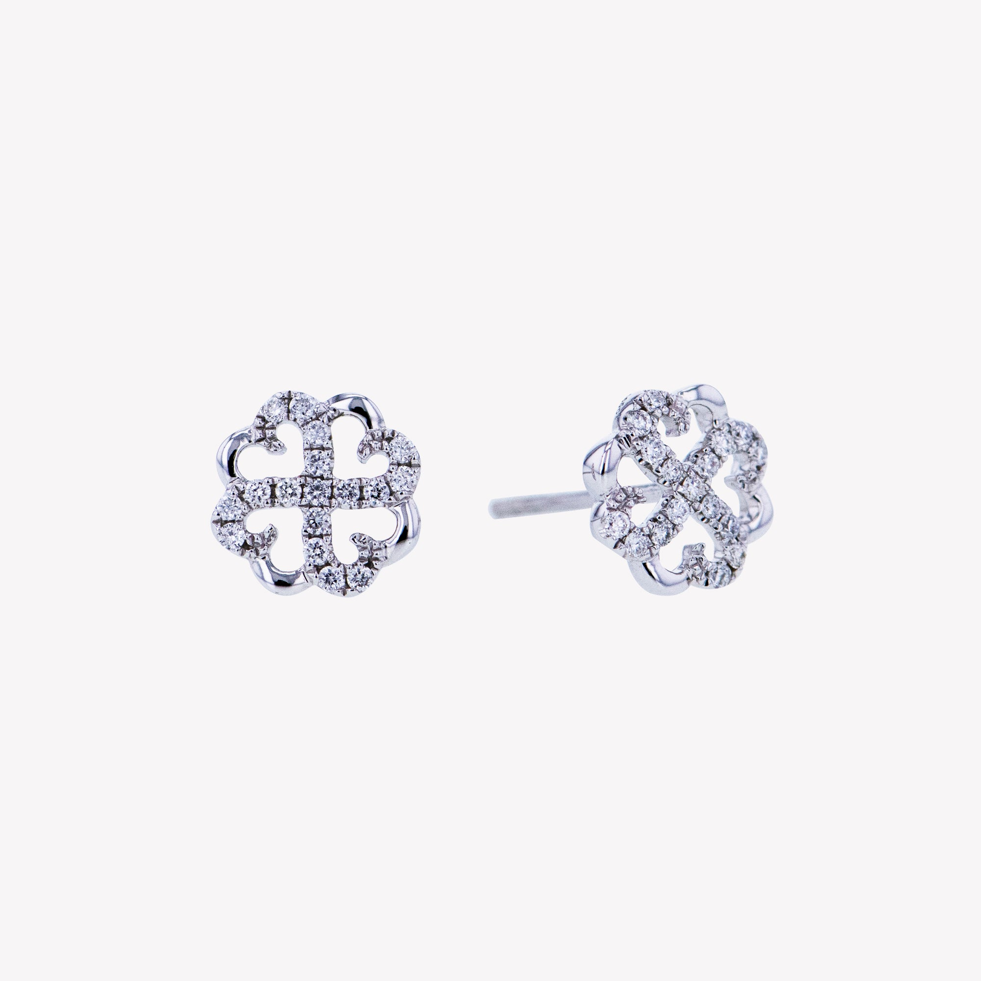Clover Earrings in White Gold