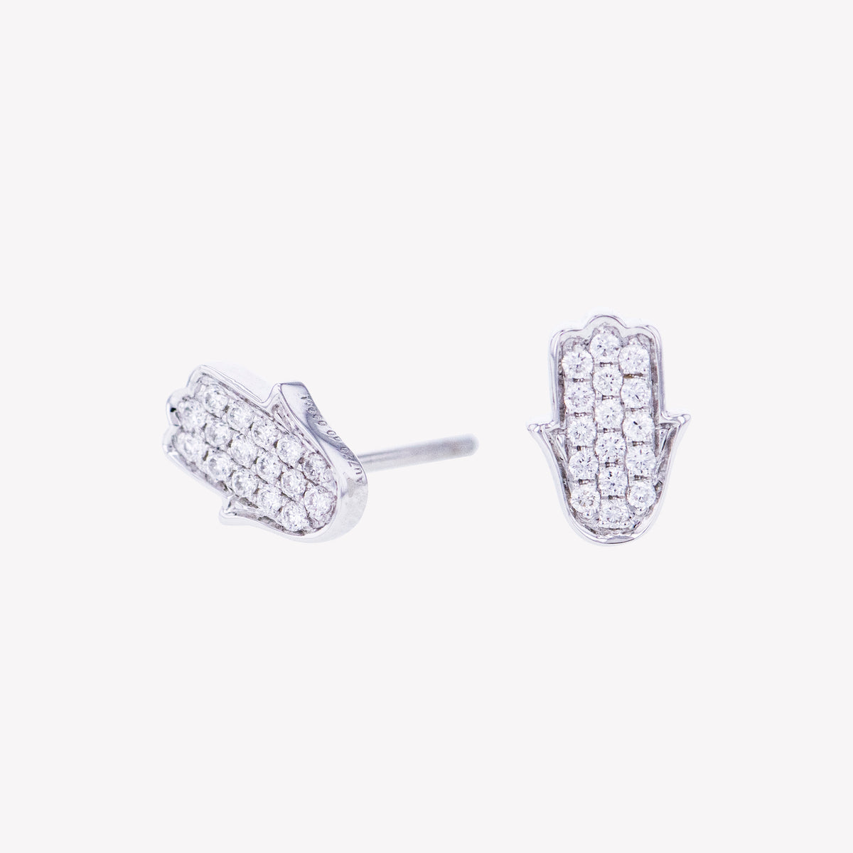 Hamsa Earrings in White Gold