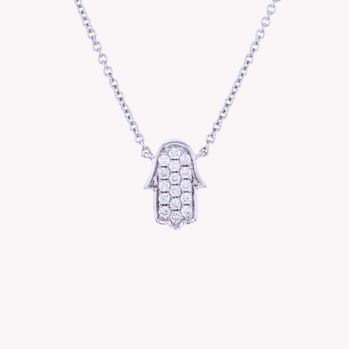 Hamsa Pendant with Chain in White Gold