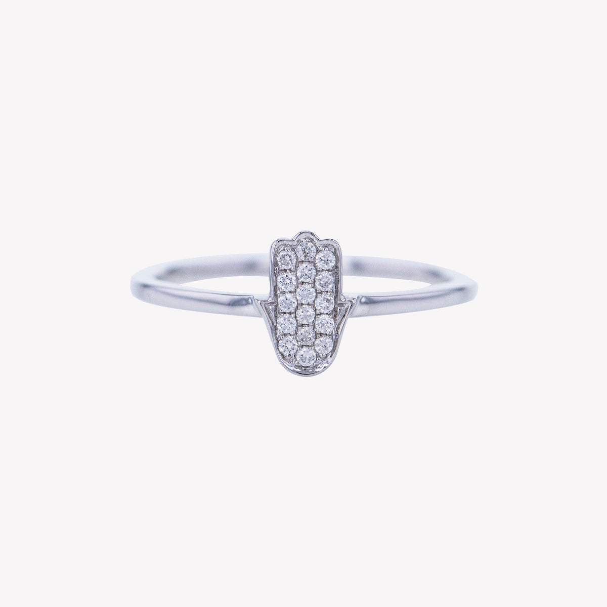 Hamsa Ring in White Gold