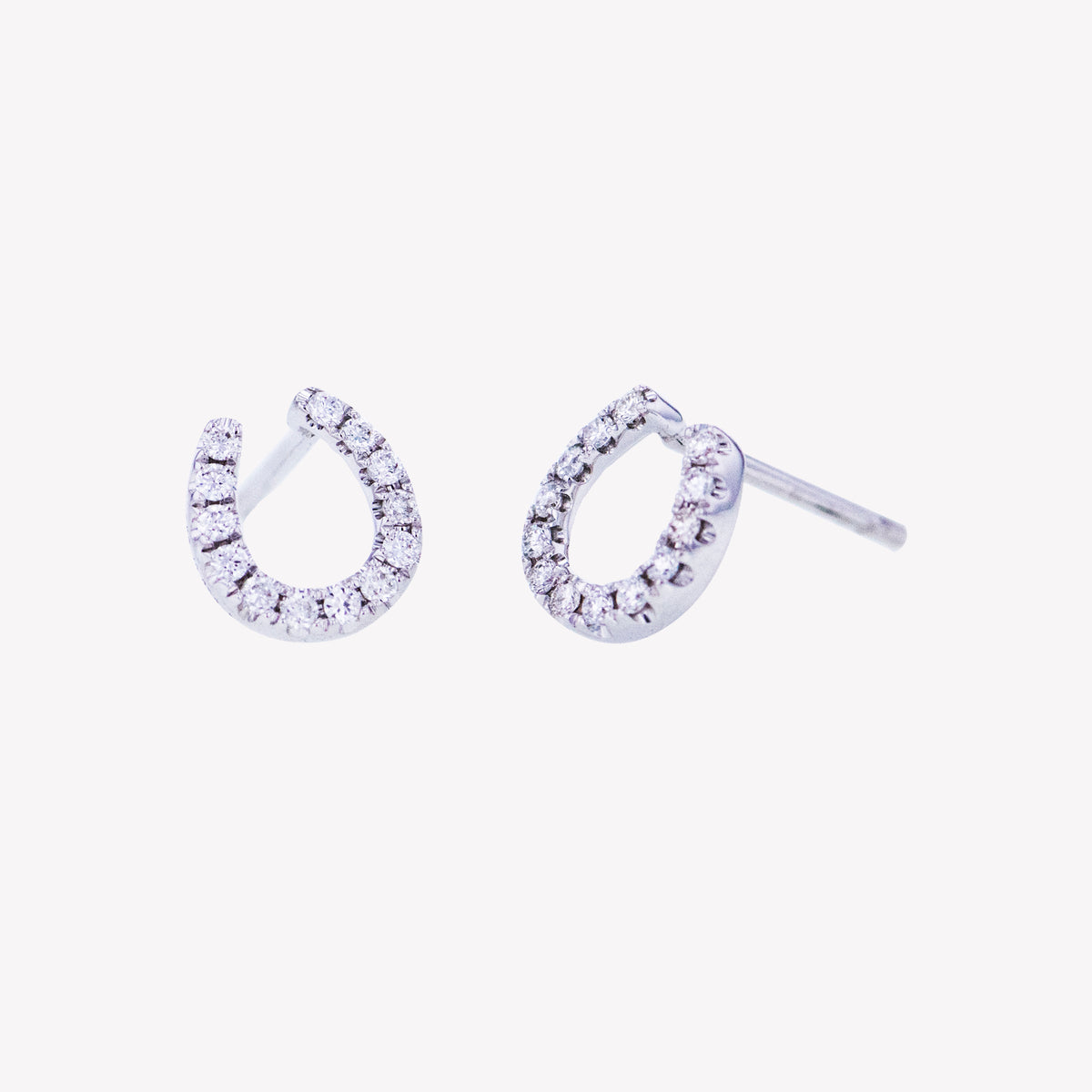 Horse Shoe Earrings in White Gold