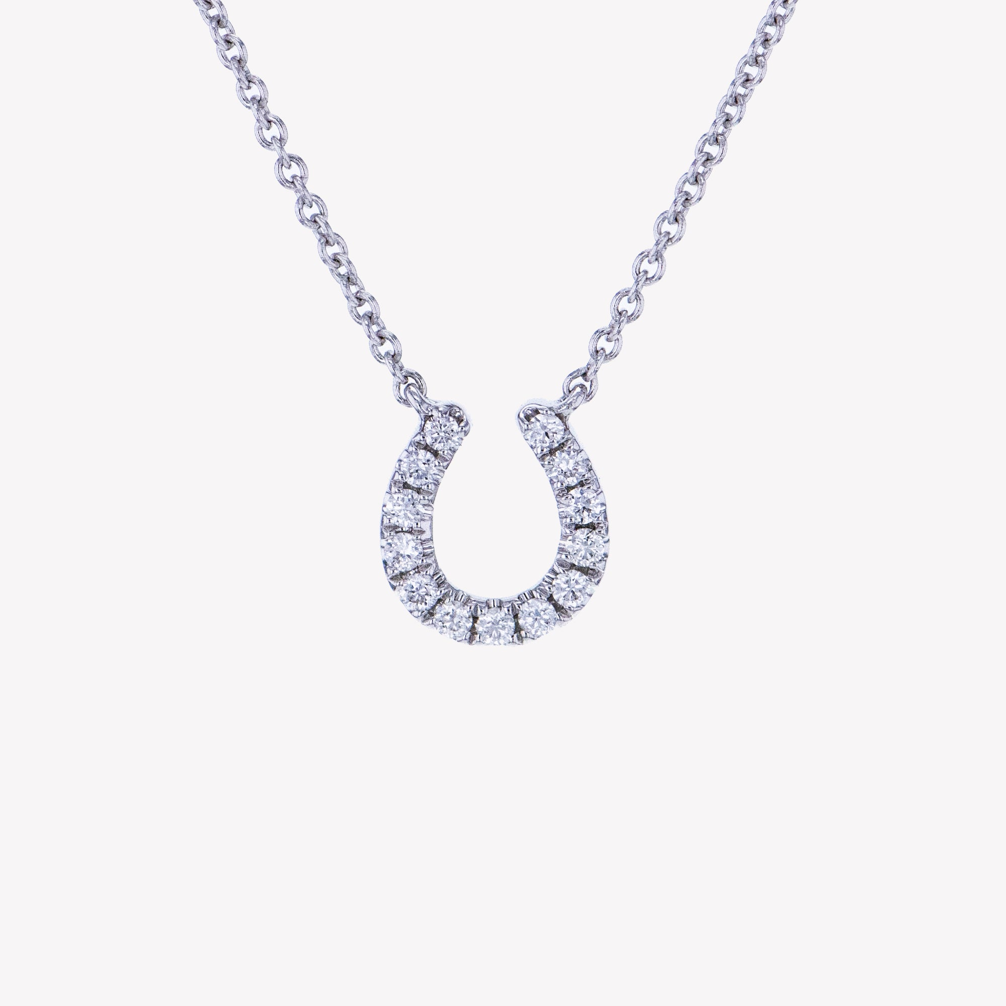 Horse Shoe Pendant With Chain in White Gold