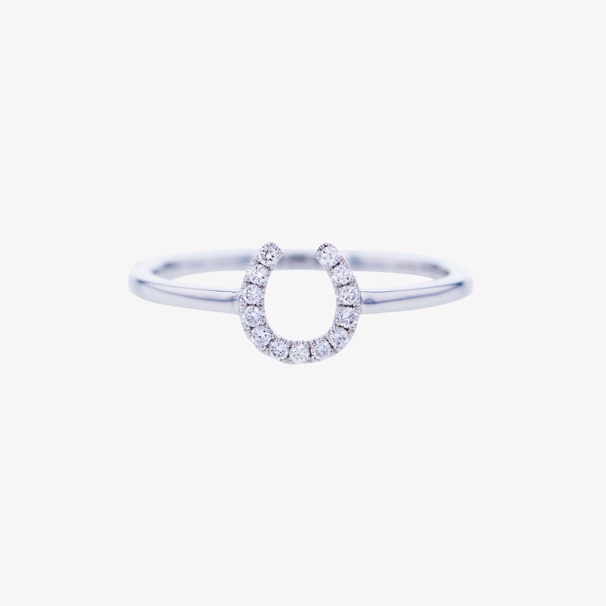 Horse Shoe Ring in White Gold