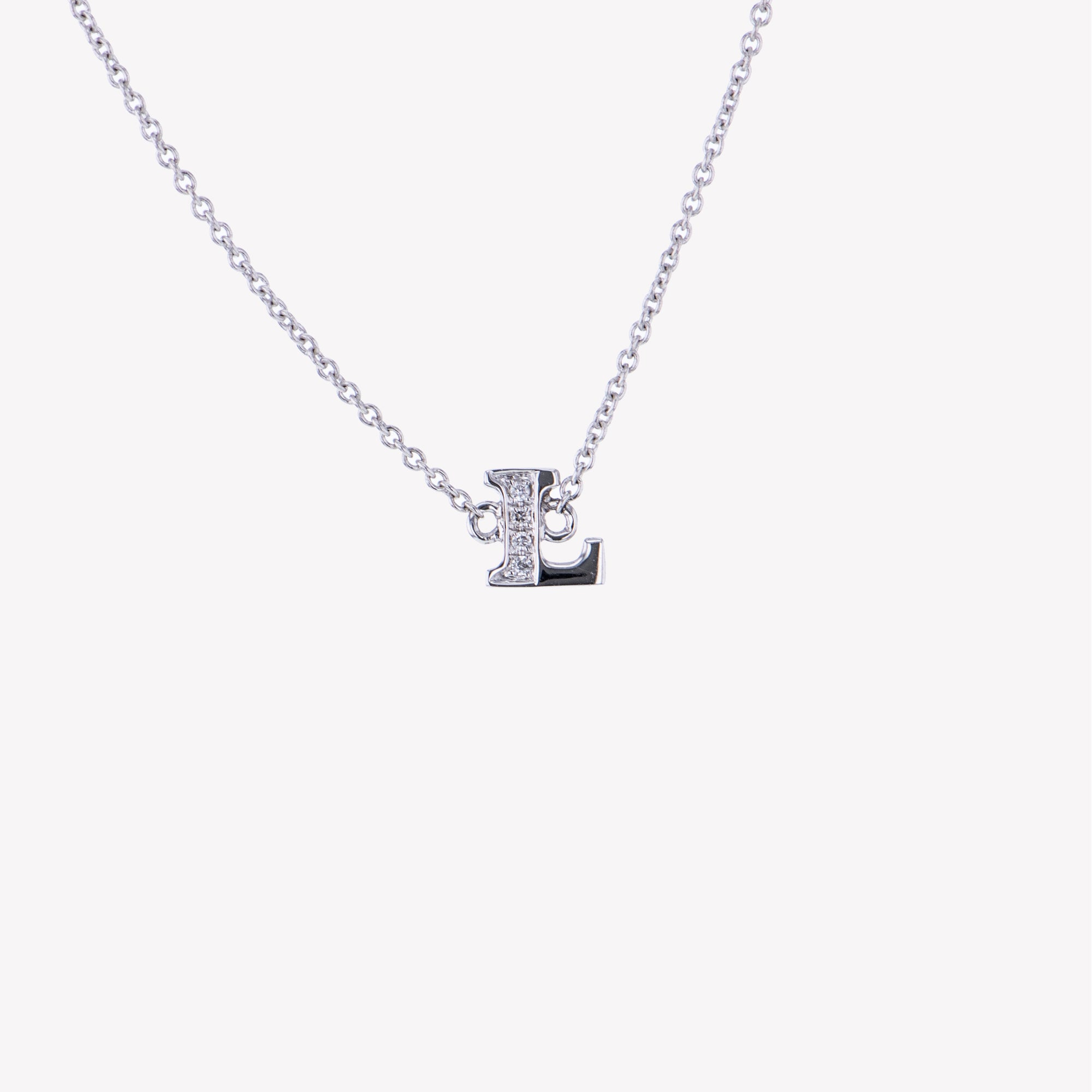 Letter L Diamond Pendant With Chain in White Gold