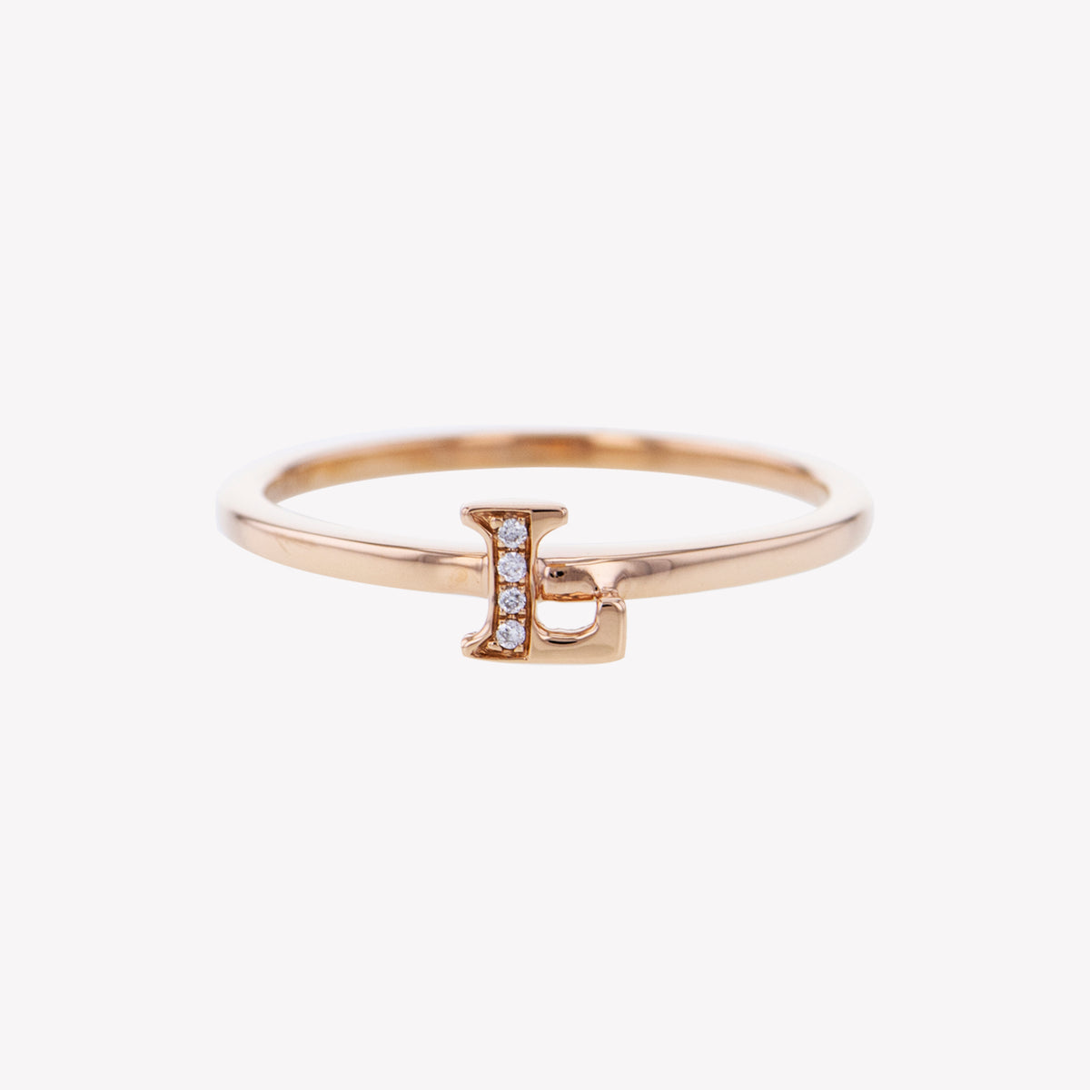 Letter L Diamond Ring in Rose Gold