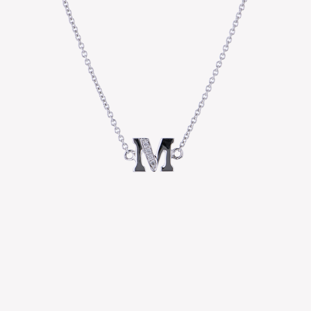Letter M Diamond Pendant With Chain in White Gold