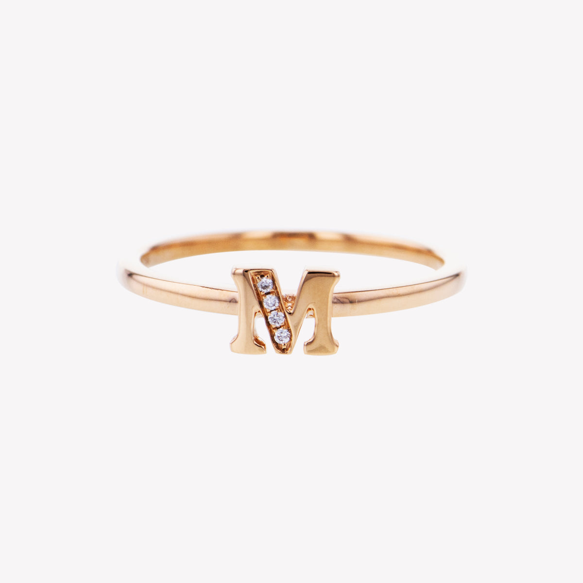 Letter M Diamond Ring in Rose Gold