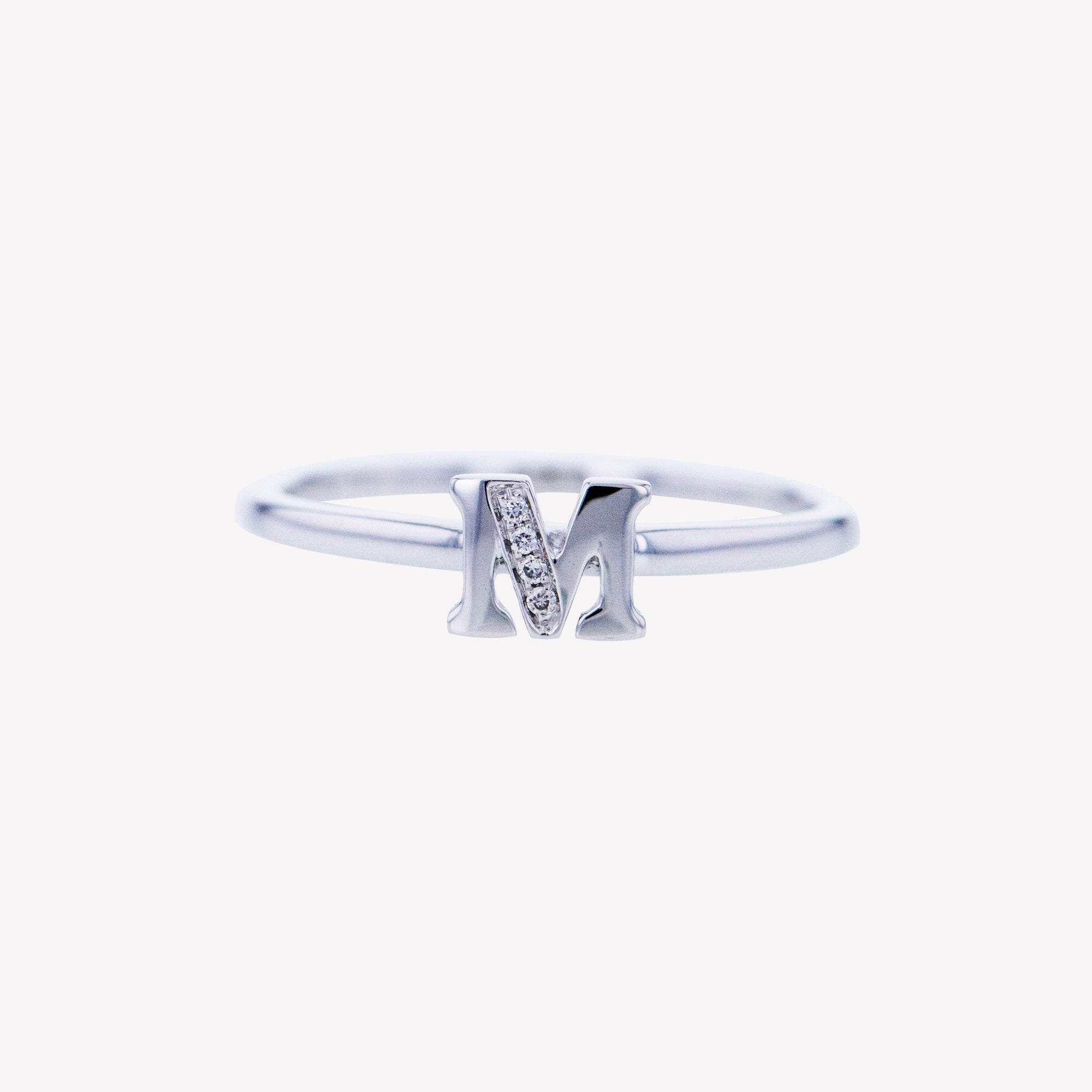 Letter M Diamond Ring in White Gold