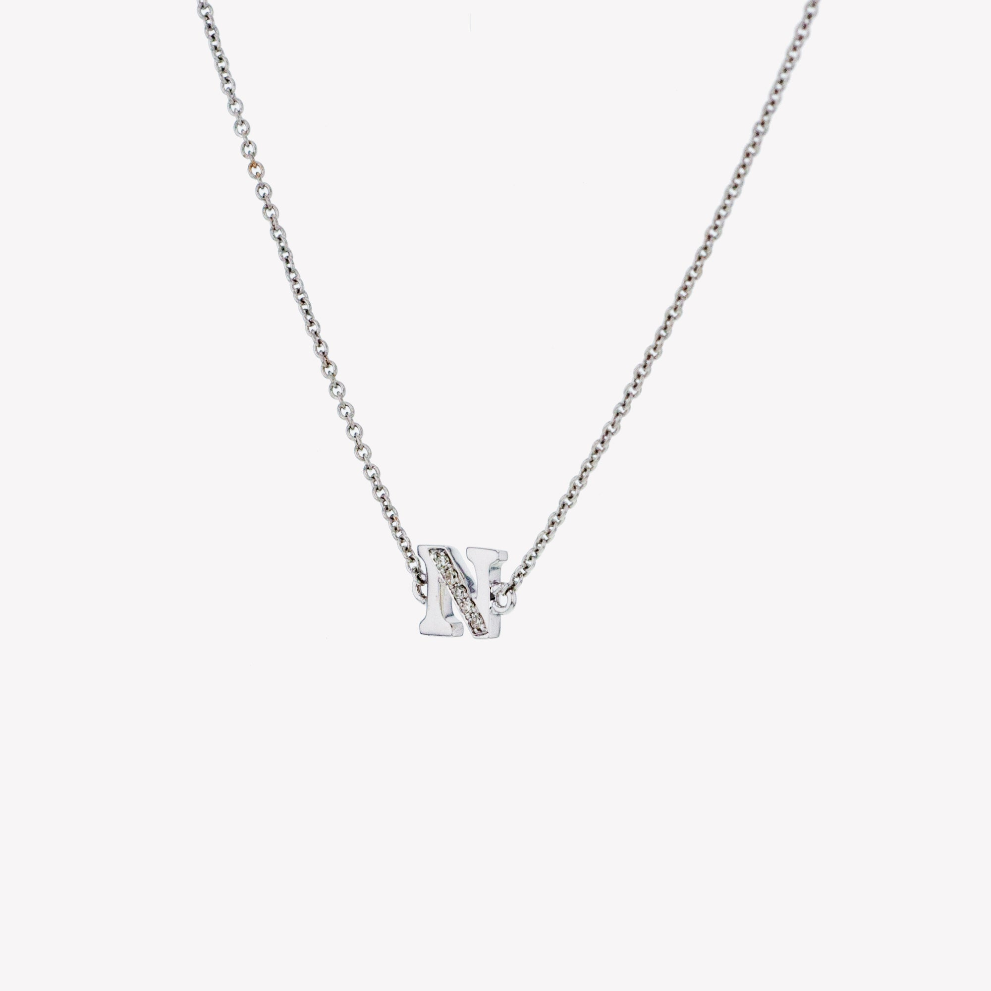Letter N Diamond Pendant With Chain in White Gold