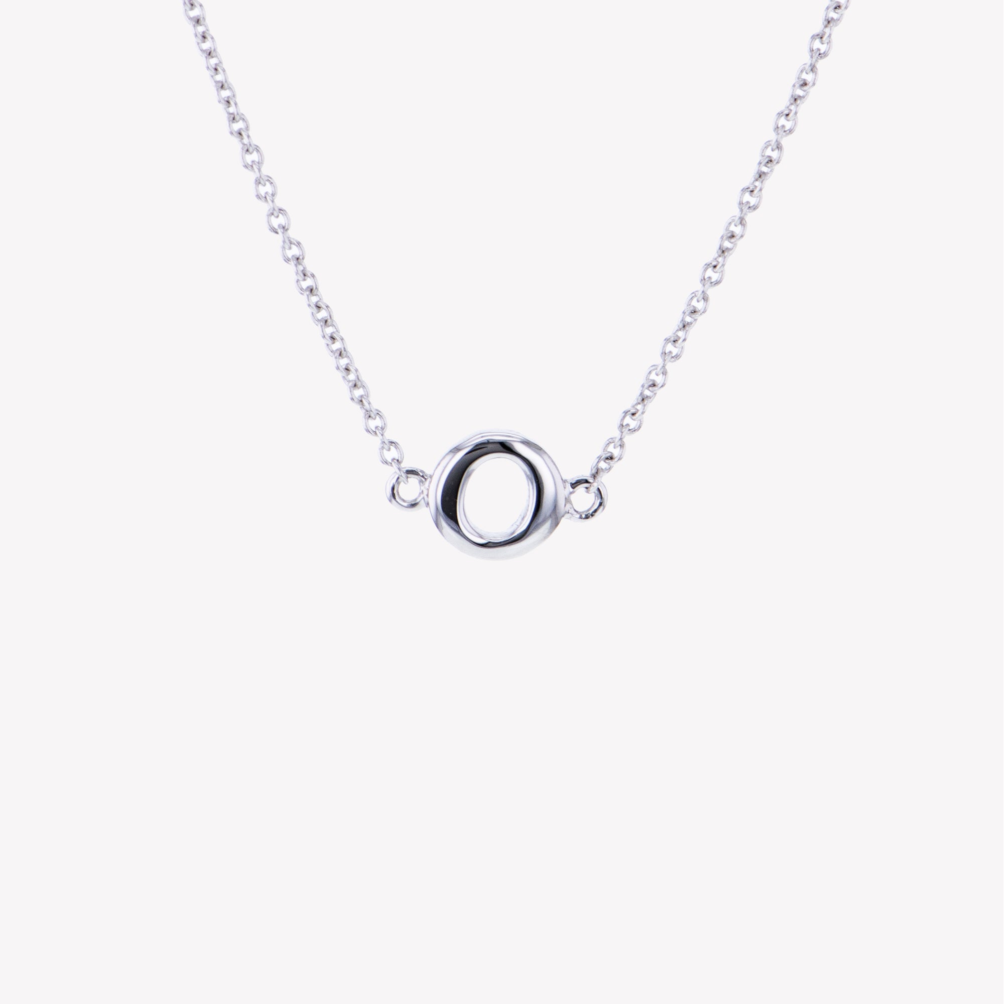 Letter O Diamond Pendant With Chain in White Gold