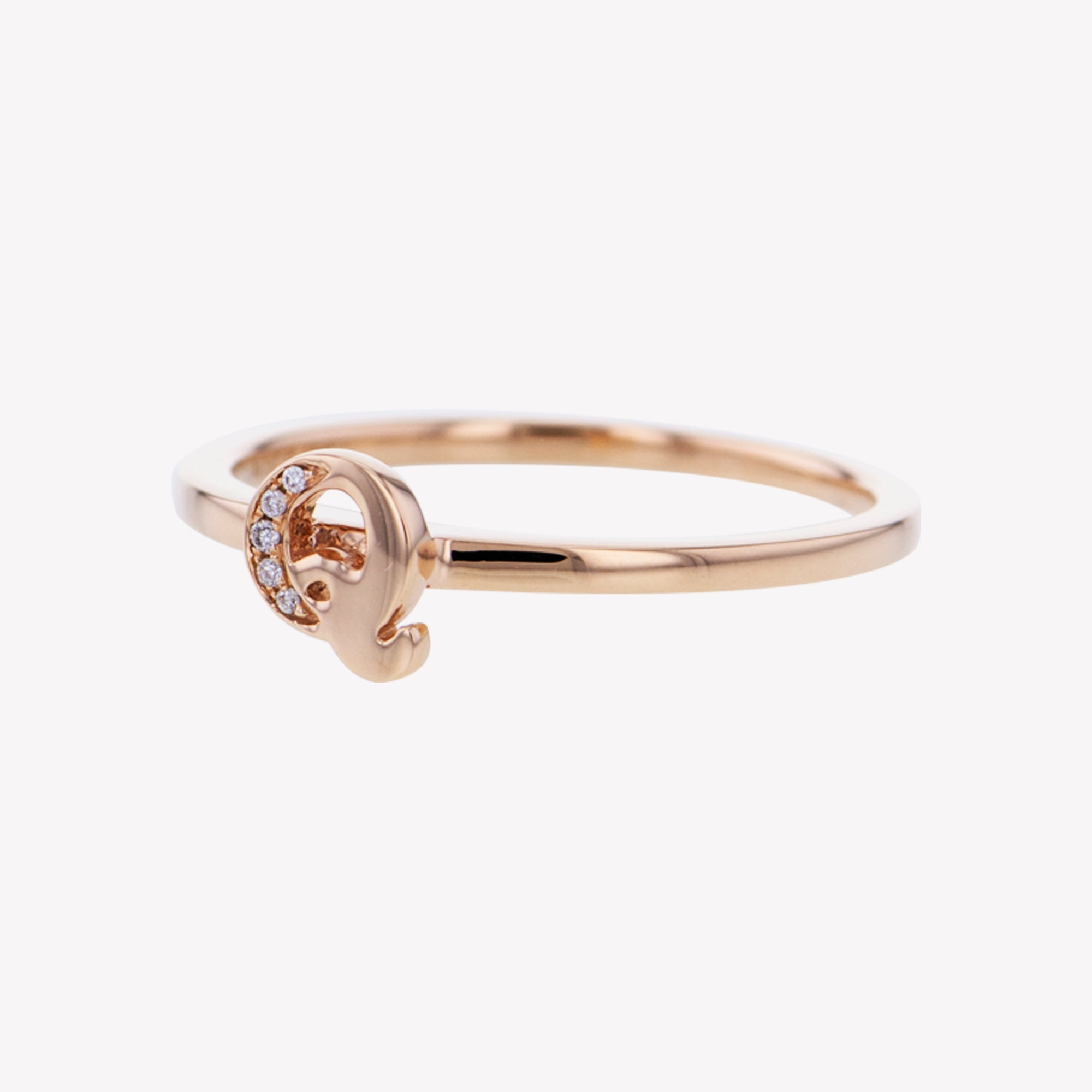 Letter Q Diamond Ring in Rose Gold