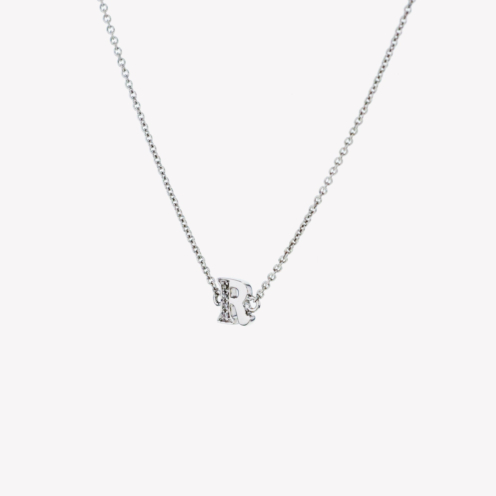 Letter R Diamond Pendant With Chain in White Gold