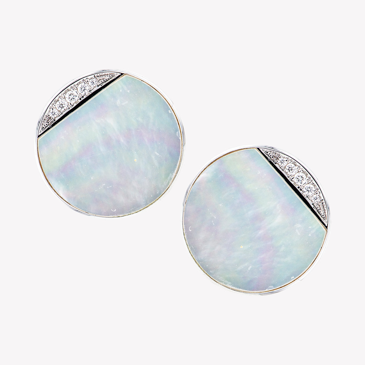 18K W/G Mother Of Pearl Diamond Earring