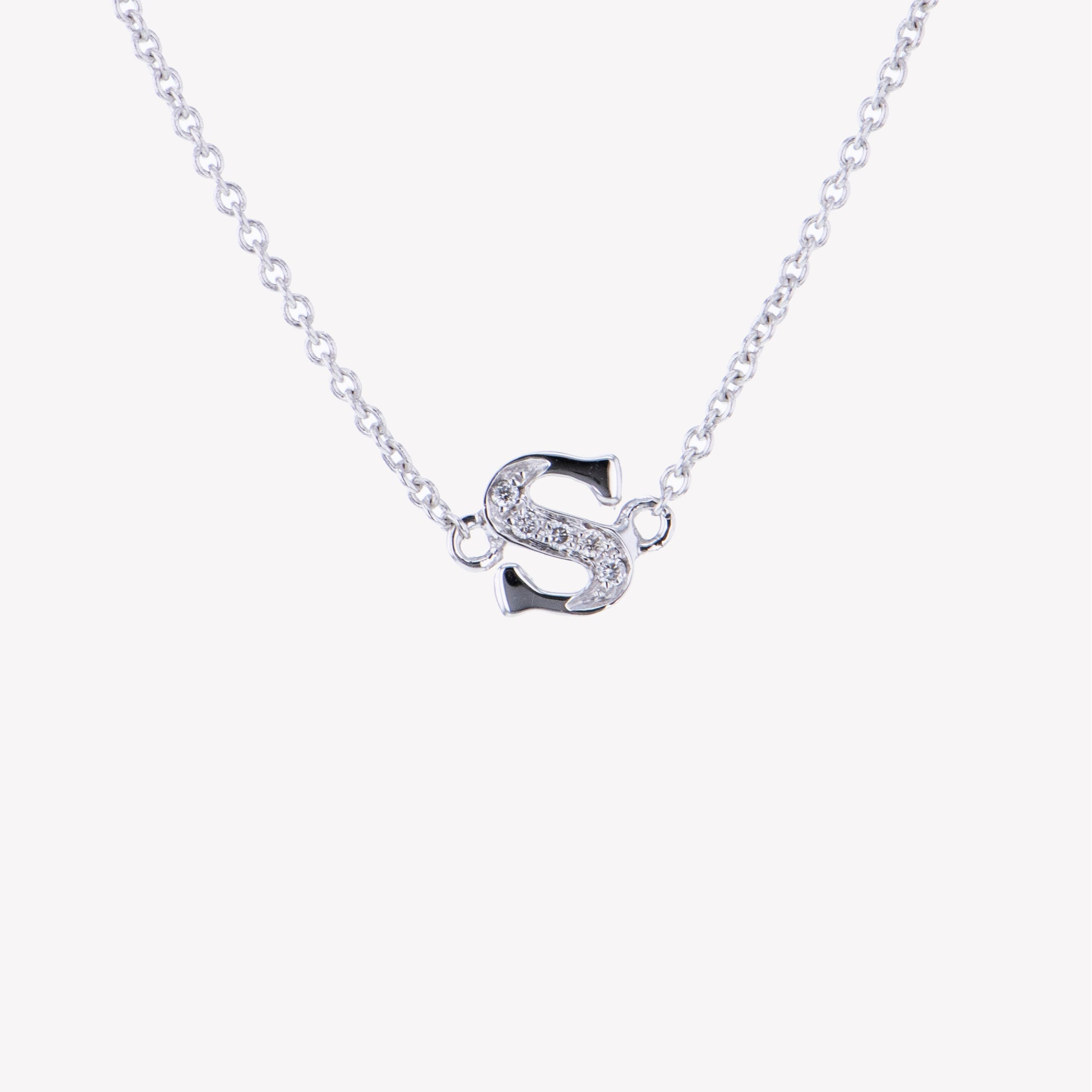 Letter S Diamond Pendant With Chain in White Gold