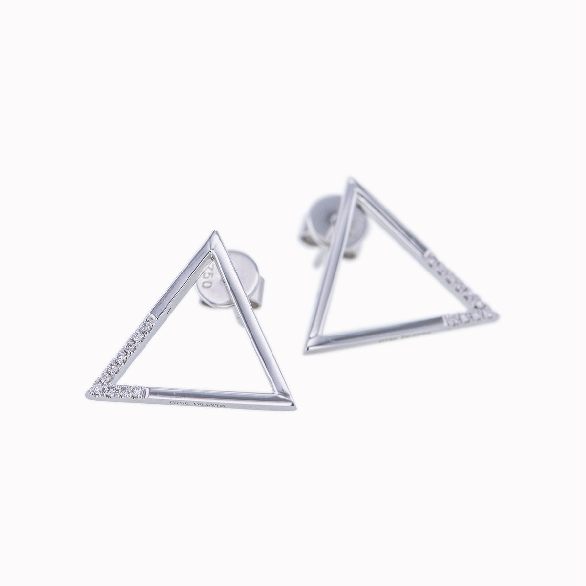 Triangle Earrings in White Gold