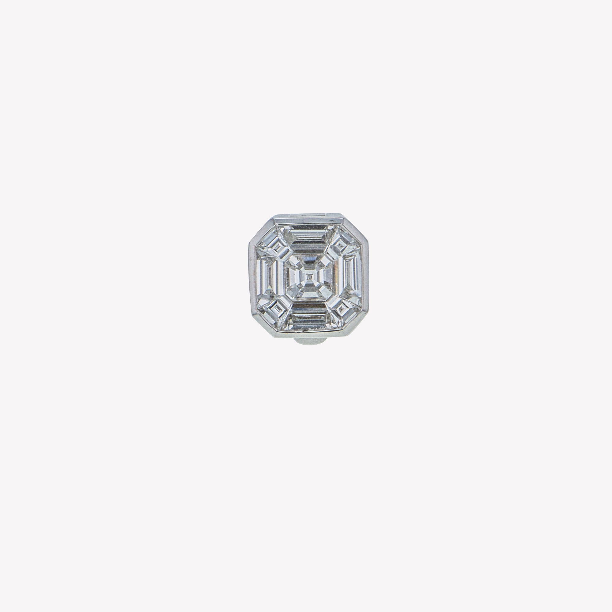 Detachable White Gold Asscher Head (Ring-to-Pendant)