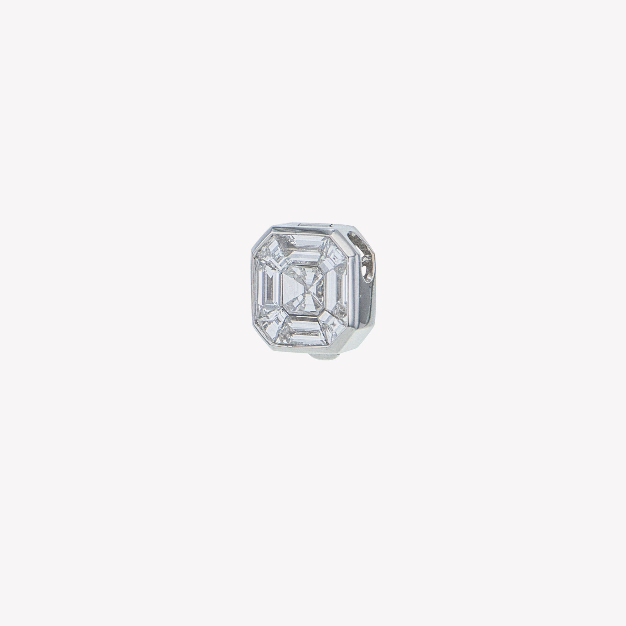Detachable White Gold Asscher Head with Octa Band