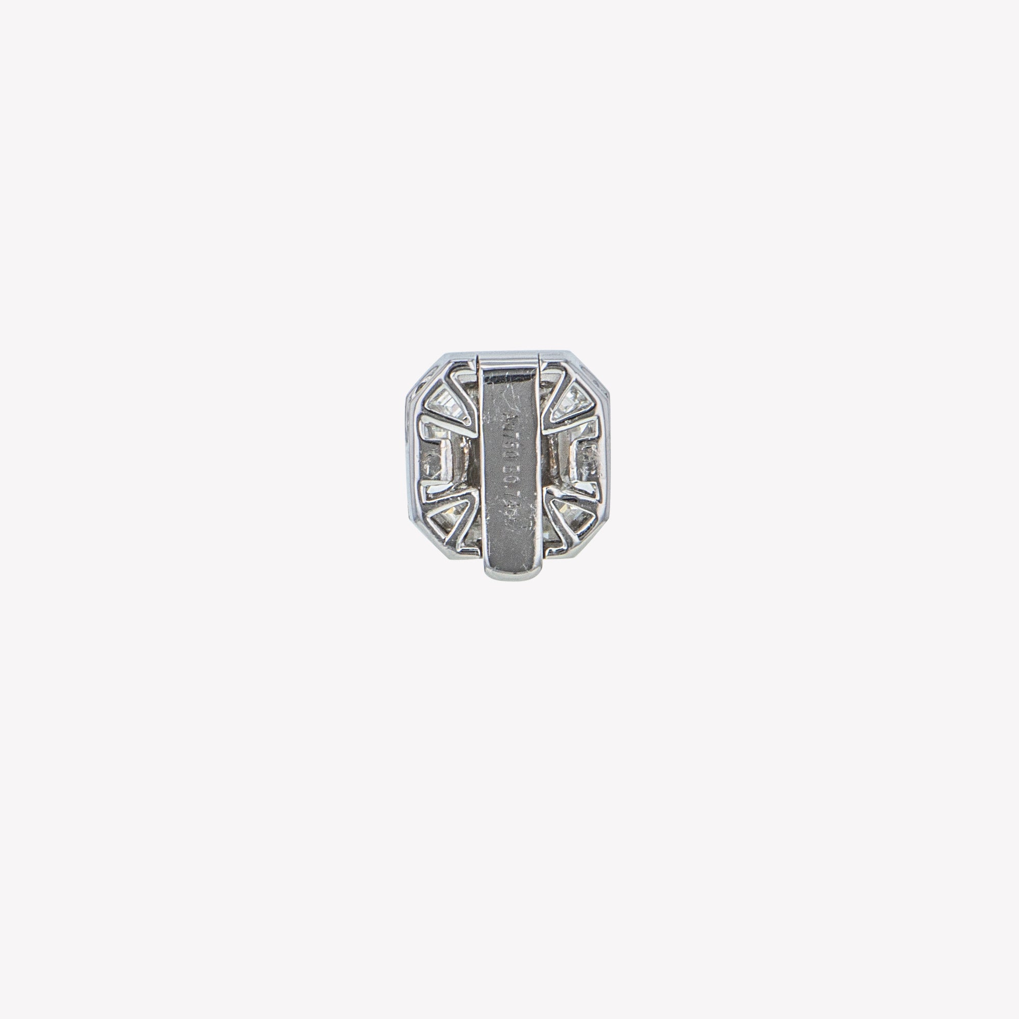 Detachable White Gold Asscher Head with Round Band