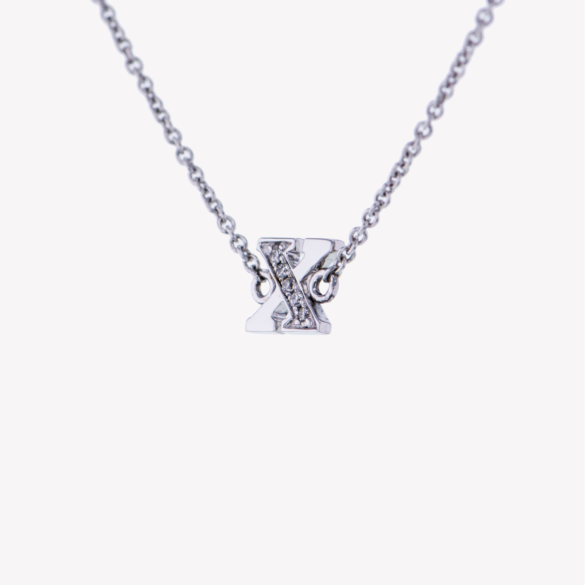 Letter X Diamond Pendant With Chain in White Gold