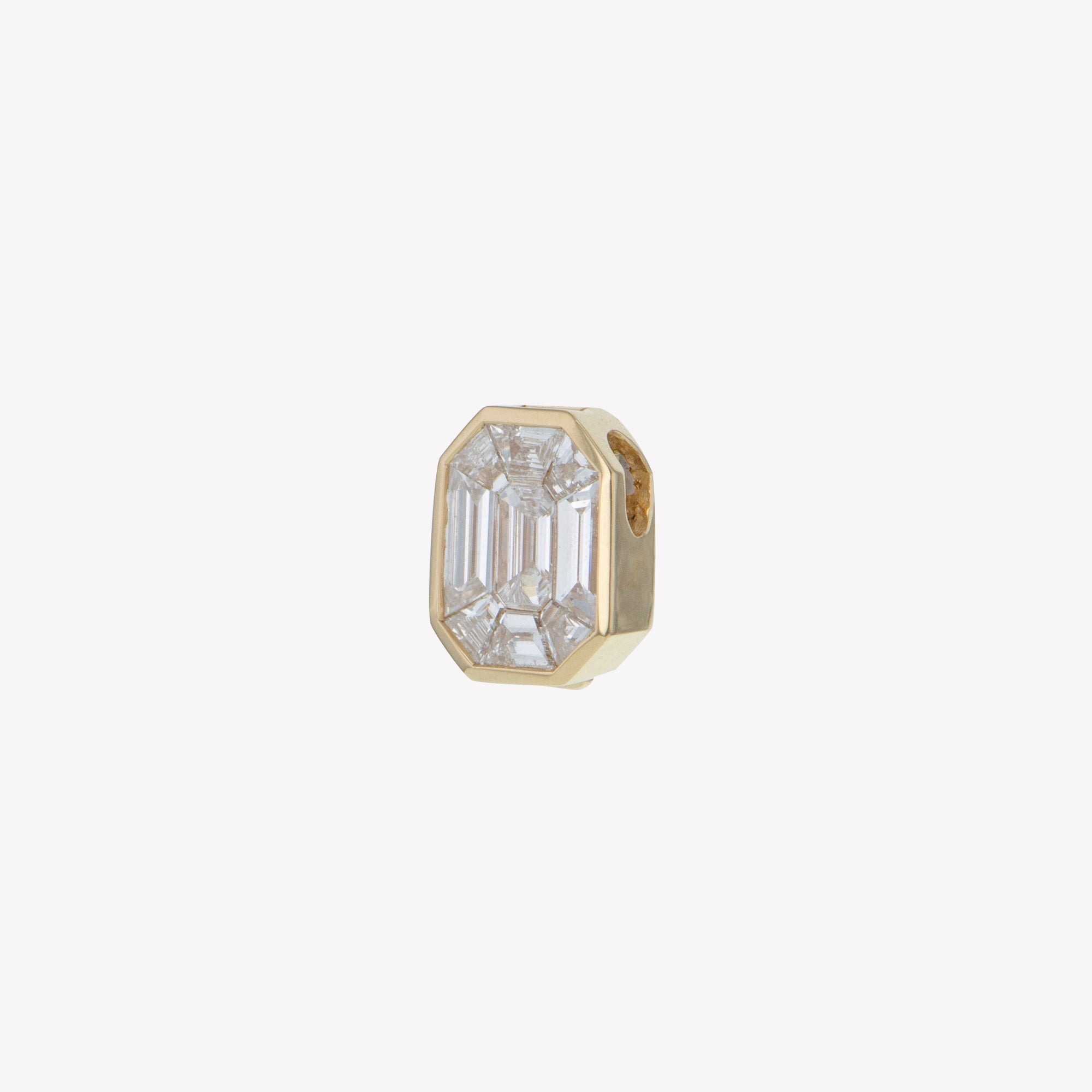 Detachable Yellow Gold Emerald Head with Octa Diamond Band