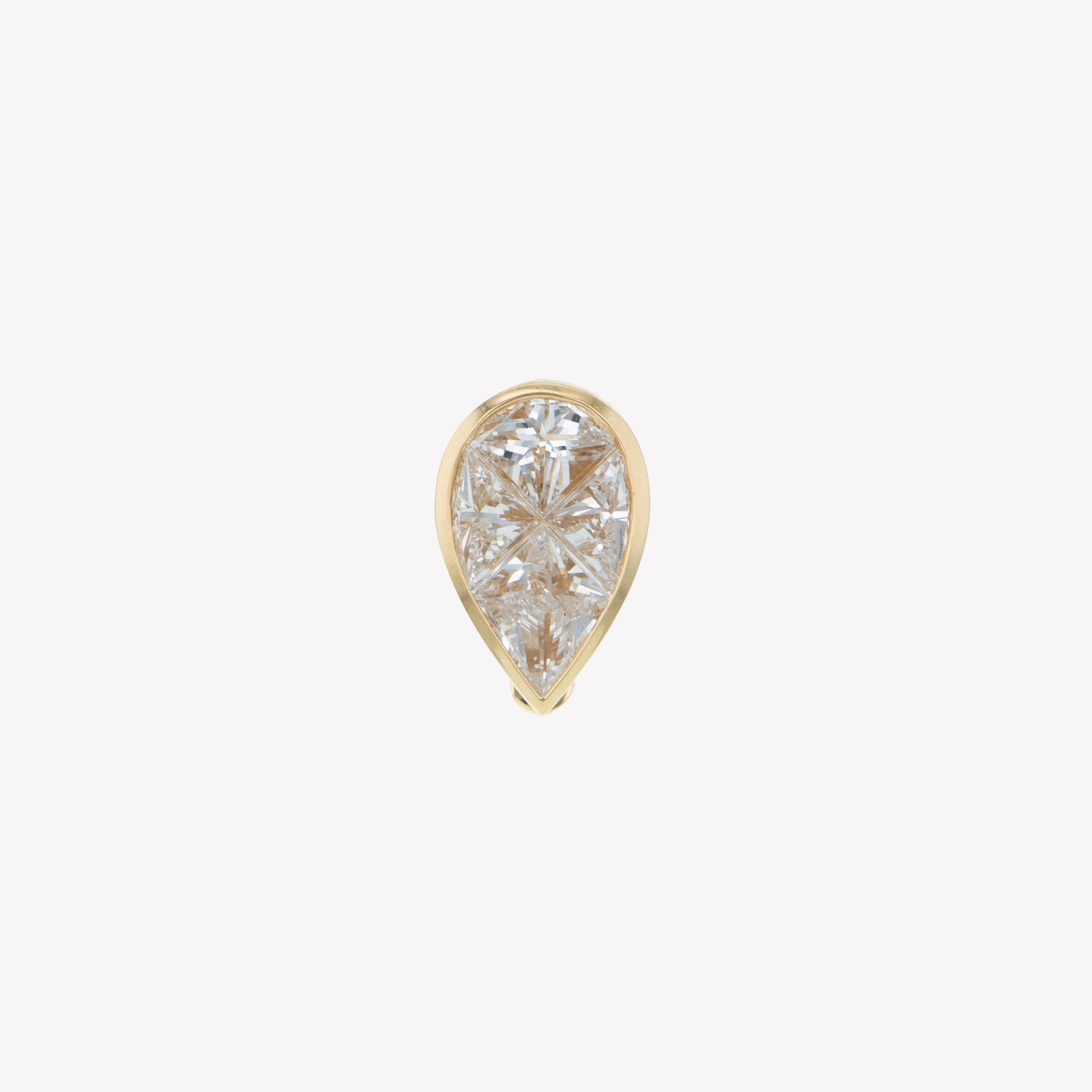 Detachable Yellow Gold Pear Head with Octa Diamond Band
